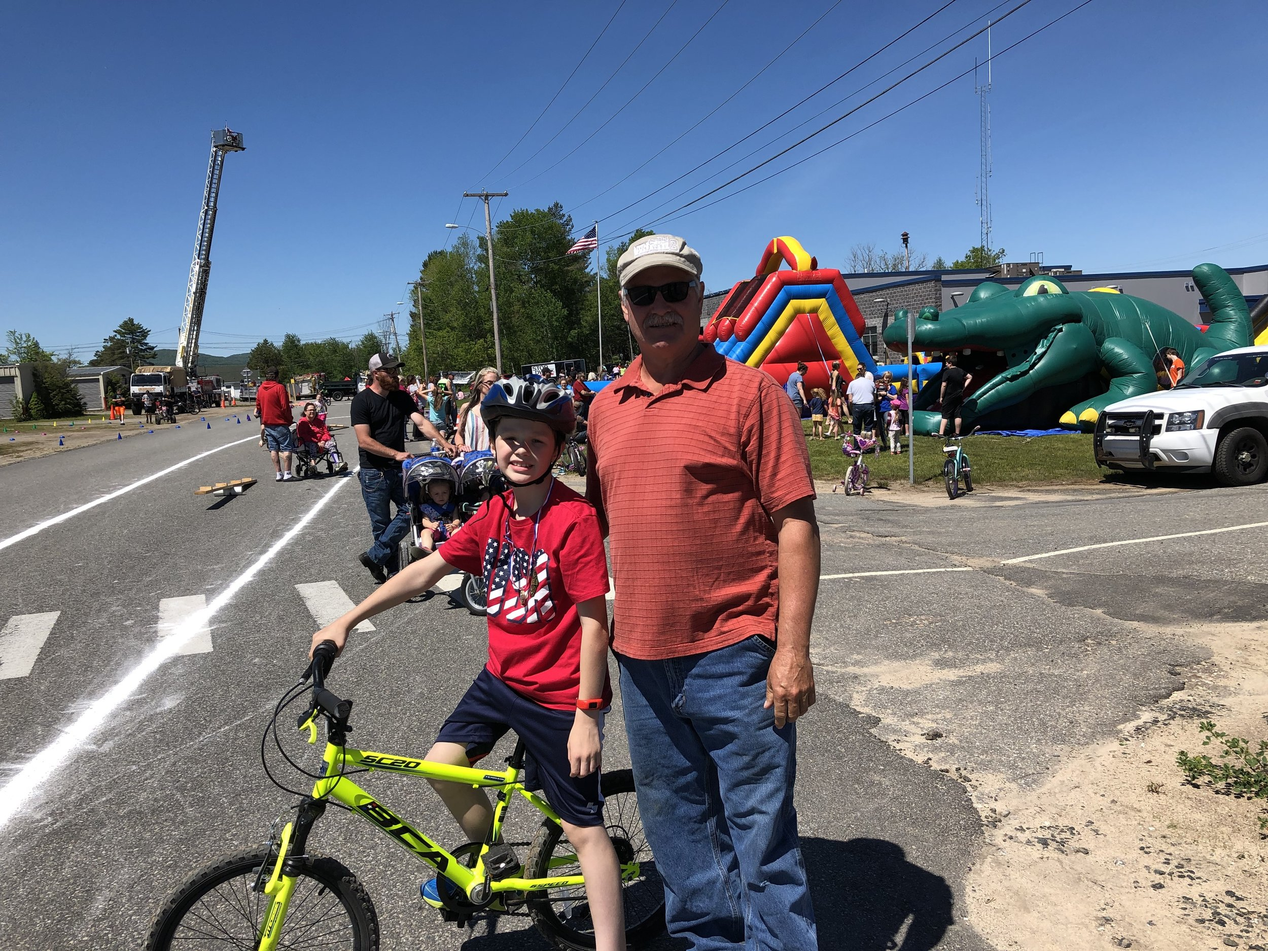 Bike rider Teagan Amell was at Saturday's event to try his luck at the various skill events, with encouragement from his grandfather, former town supervisor Roger Amell.