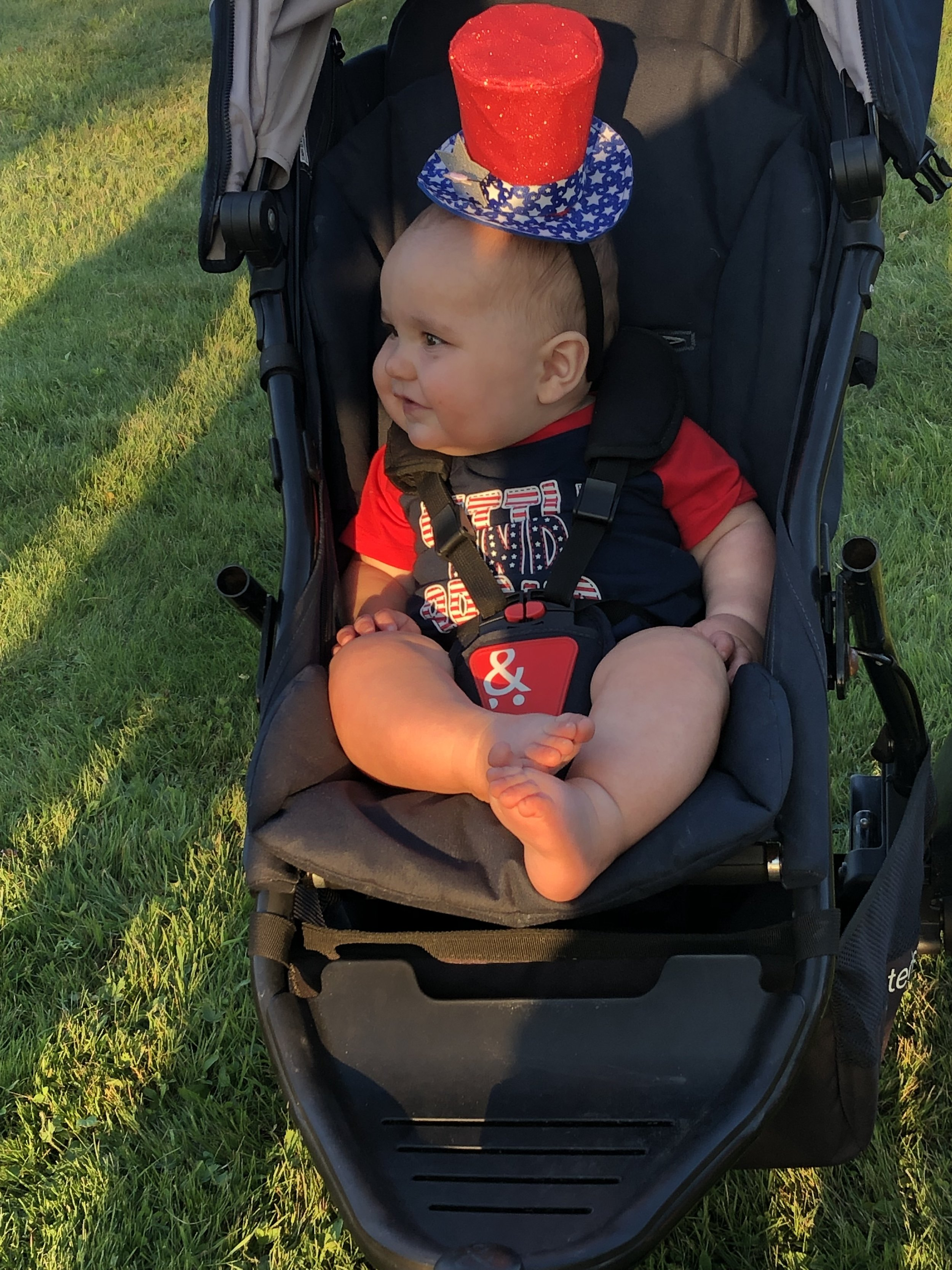 The happiest July Fourth baby to grace the new lawns overlooking the Flanders Park bandshell Wednesday evening was Shannon and Josh Trembley's third boy, Tommy, brother to Frank and Louie. The lad came decked for the occasion. More photos on our web site this week.