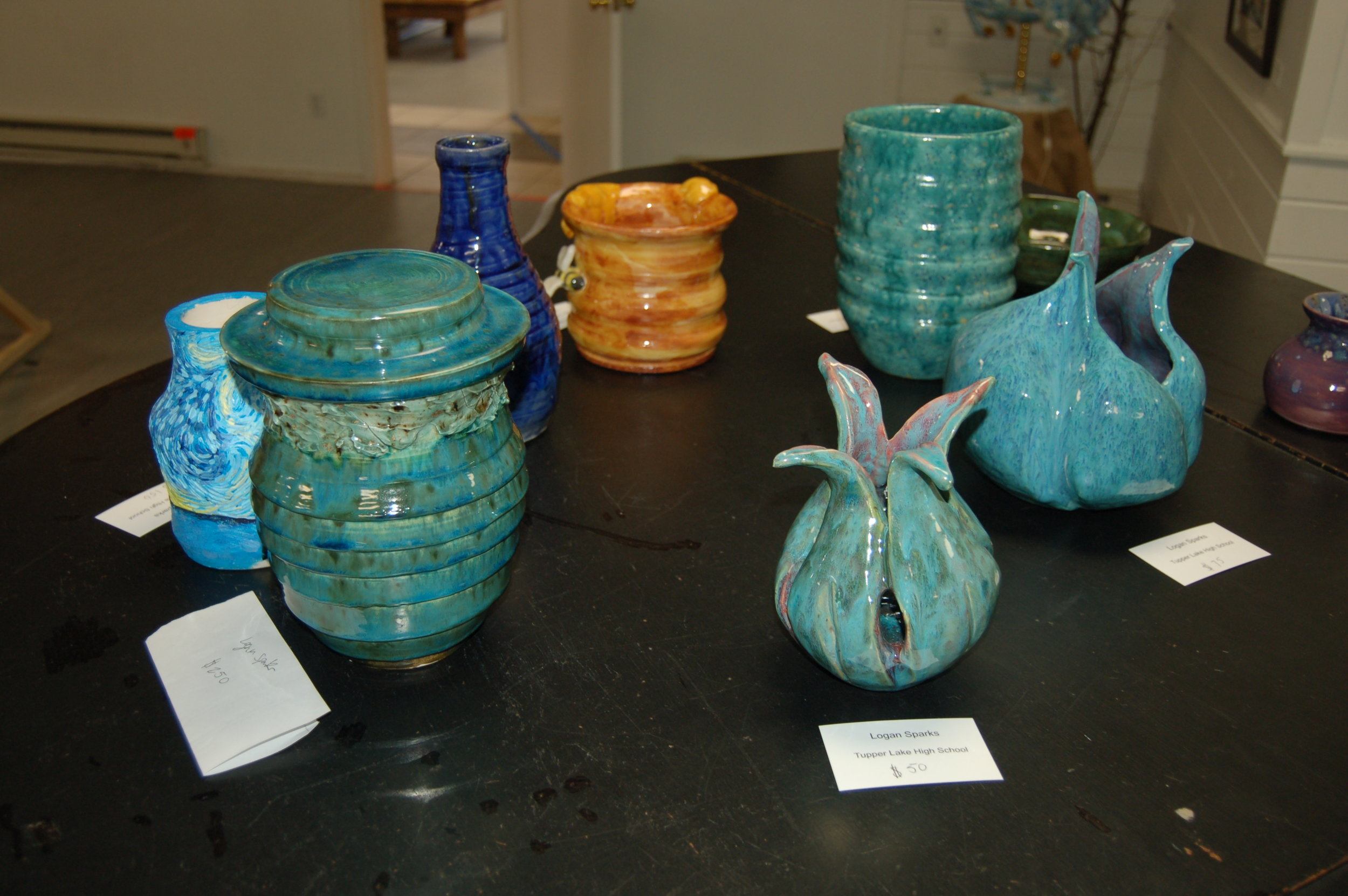 Pottery made by Tupper Lake High School student, Logan Sparks