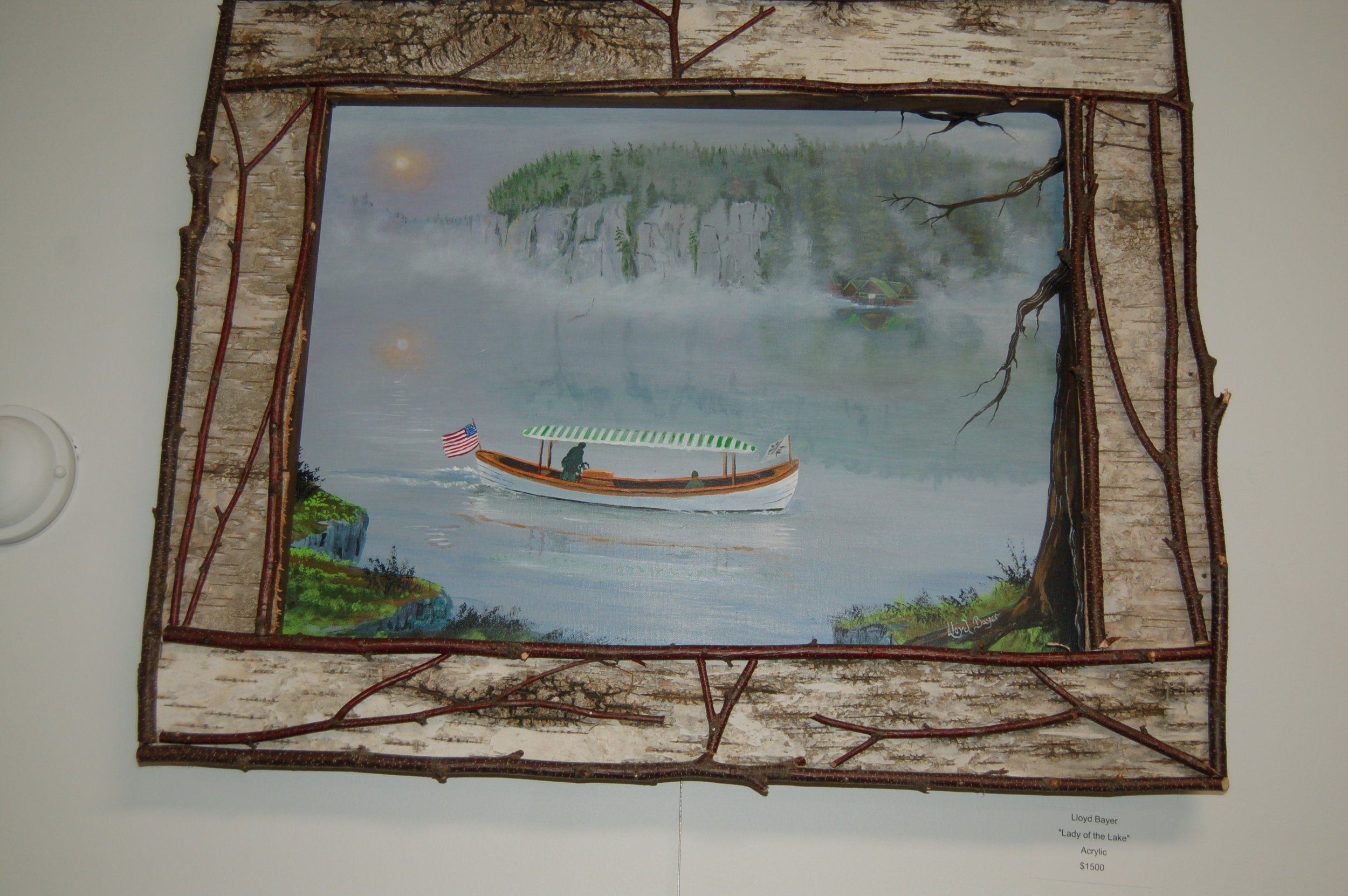 Lloyd Bayer's paintings of the famous Geraldine with the Bluffs in the background.