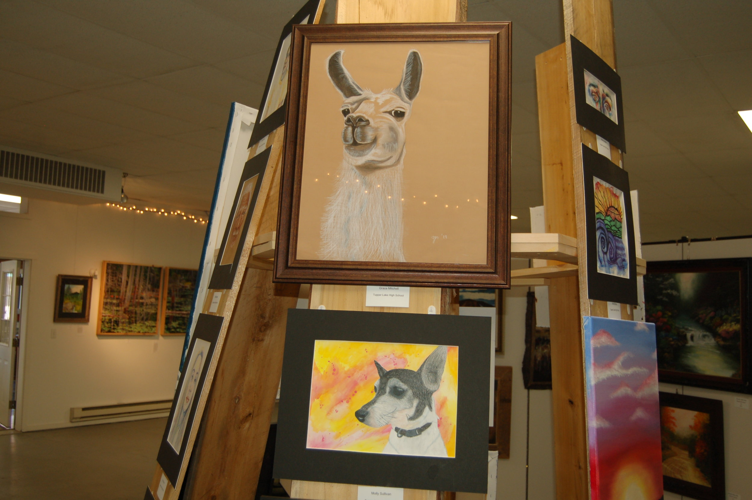 Artworks by Tupper Lake High School Students, Grace Mitchell, above, and Molly Sullivan.