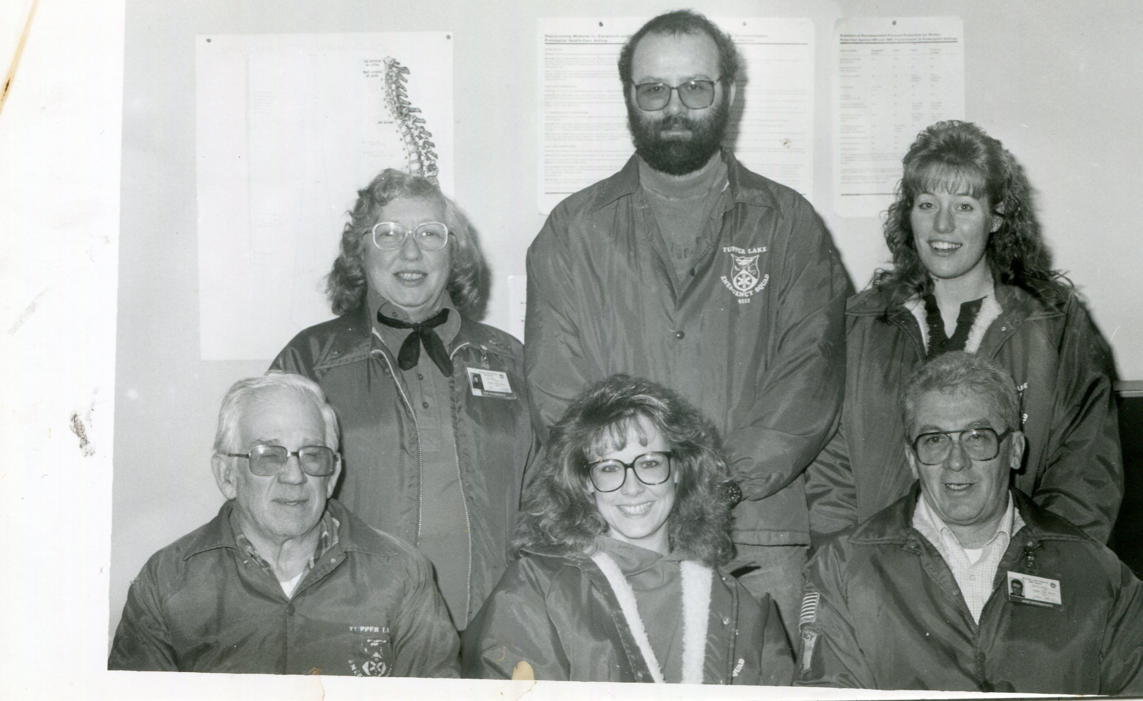 This 1992-era photo by Kathleen Bigrow shows some of the rescue squad's active volunteers at the time: front row from left- Maurice Corrow, Judy Duval and Ben Morin. In back from left were Ann LaVoy, Brian Dukette and Kim Mace.