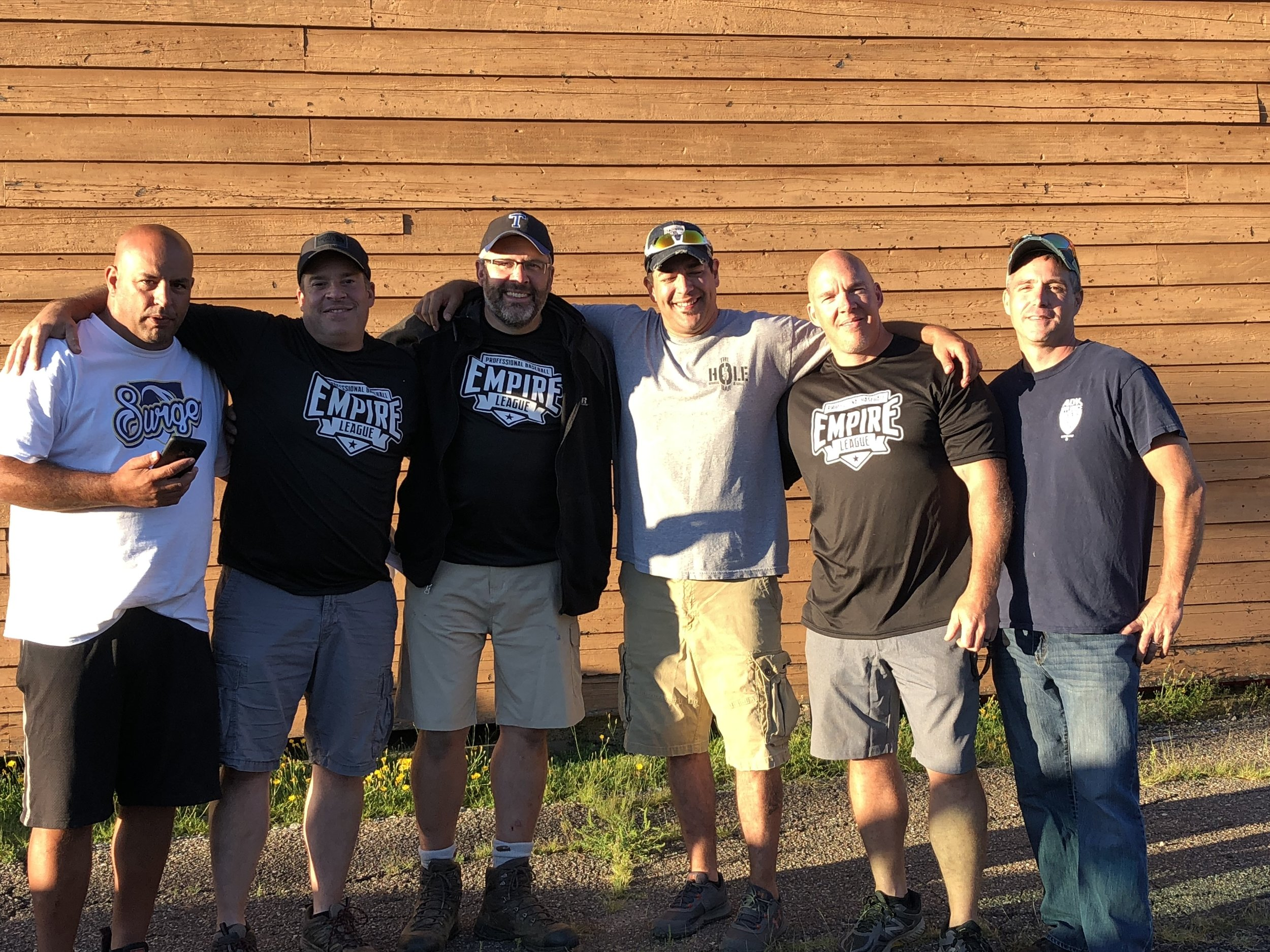 """The six men who are working hard these days to help Eddie Gonzalez bring a semi-pro baseball team to Tupper Lake posed Saturday after the community vote, in front of the back of the grandstand here. From left were committee chair, David """"Haji"""" Maroun, Jay Skiff, Jed Dukett, Royce Cole, Rick Skiff and Ron LaScala."""