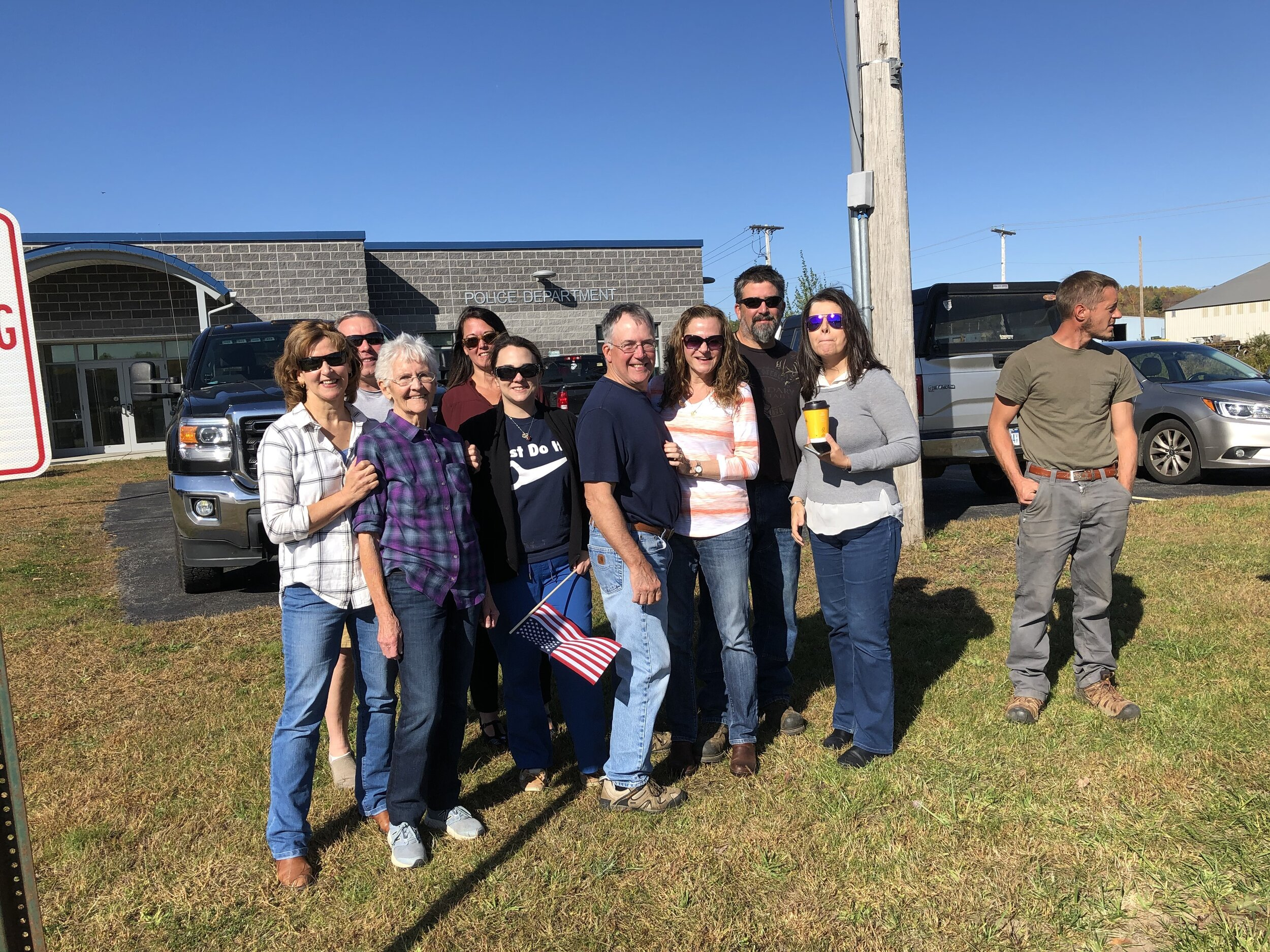 Some members of Tupper Lake's Kentile family wishing their husband, father and grandfather Bucky a safe trip to Washington.
