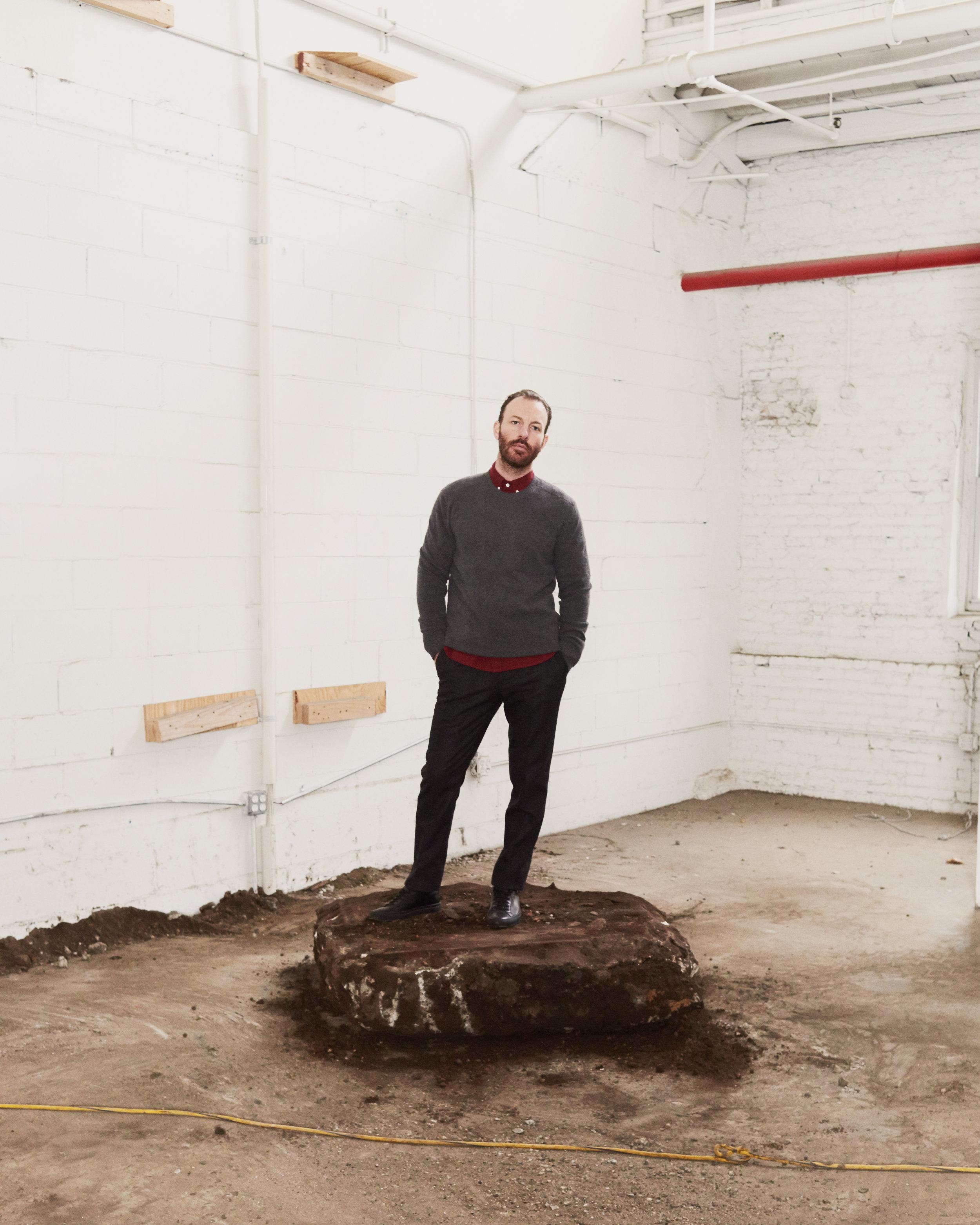 Steven Alan Light Seamless Sweater  +  Classic Collegiate Shirt  +  Draft Pant  +  Common Projects Original Achilles