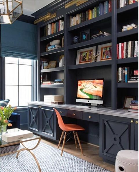 Built in bookcase and desk painted with Hale Navy (BM). Photo via  Benjamin Moore .