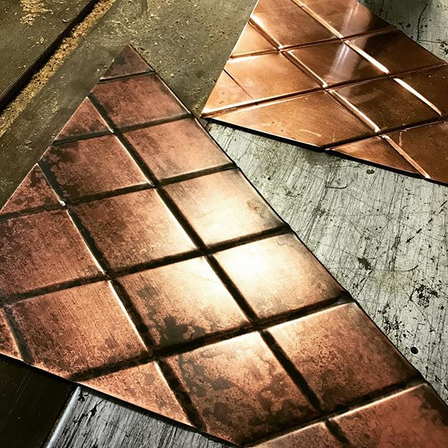 """This afternoon we did some R&D to achieve the """"perfect"""" aged finish 👌🏼👌🏼 These hand-rolled copper panels will be a subtle feature in a house project we've been working on for a while. Excited to share when completed! #rusticnail #copperwork #interiordecor #interiordesign #art #create #creative #design #designbuild #metalwork #beadrolled #mitlerbros #detail"""