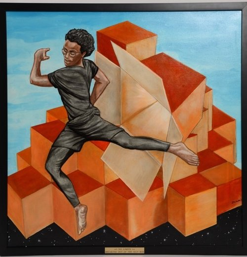 "Commissioned painting of Jalen during a dance recital titled: ""Breaking Out of the Man Box"" - Art created by InnerChild Galleries"