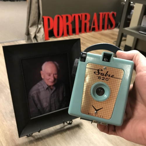 The 620 box camera that my grandfather gifted me 40 years ago, and the portrait I got to take of him after opening in my first location 20 years ago.