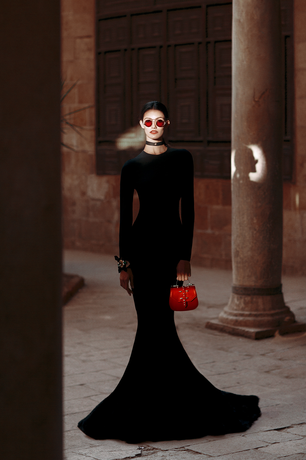 Published in Vogue Arabia Model: Tara Emad Styling: Lorand Lajos Bag: Okhtein Gown : Kojak Studio Couture Sunglasses : Amr Saad Chocker : Okhtein X House of Select Cuff : Vantique Production: Maison Pyramide Photography and Art Direction: Bassam Allam Location: Beit Al Suhaimy, Cairo, Egypt