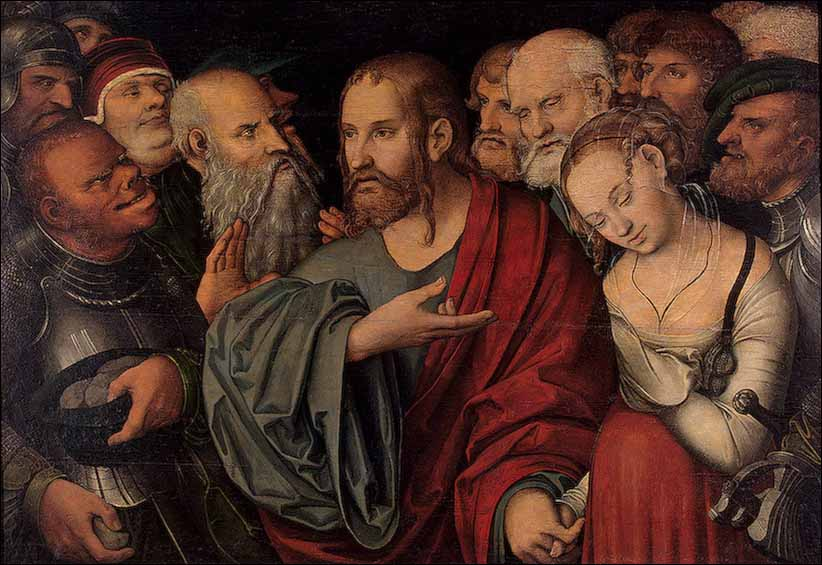 """Lucas Cranach, the Younger — """"Women Caught in Adultery"""""""
