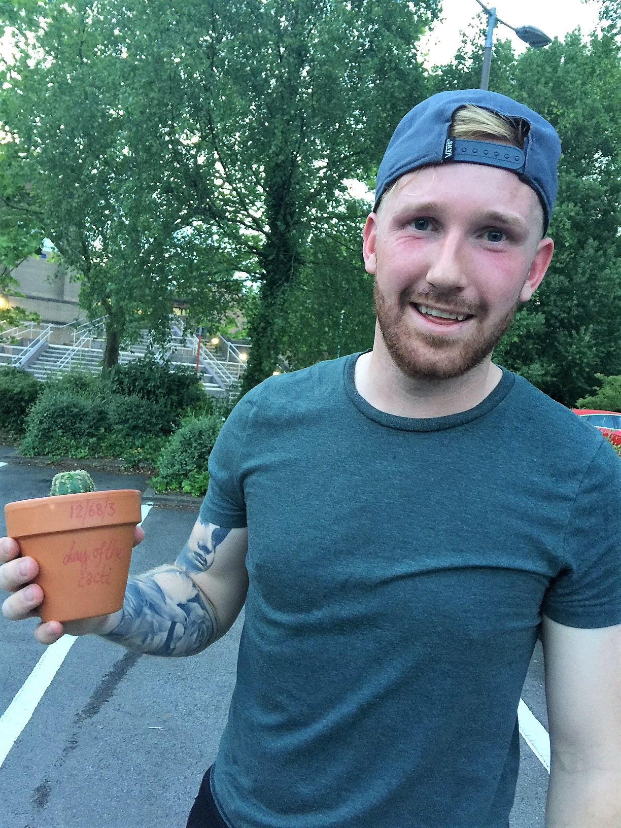 Ash Palmer   Chepstow's long throw specialist & firefighter with his cactus in June 2017