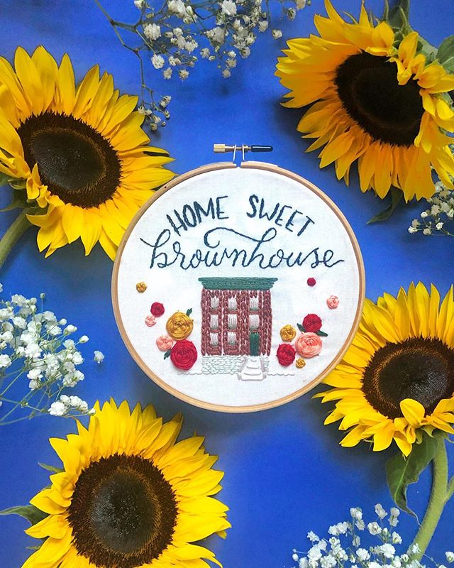 """Celebrating one year in my favorite place (our apartment is a brownstone—we call it """"brownhouse."""" Dont ask 🤷🏼♀️). New embroidering obsession courtesy of @craftjam.co 💕"""