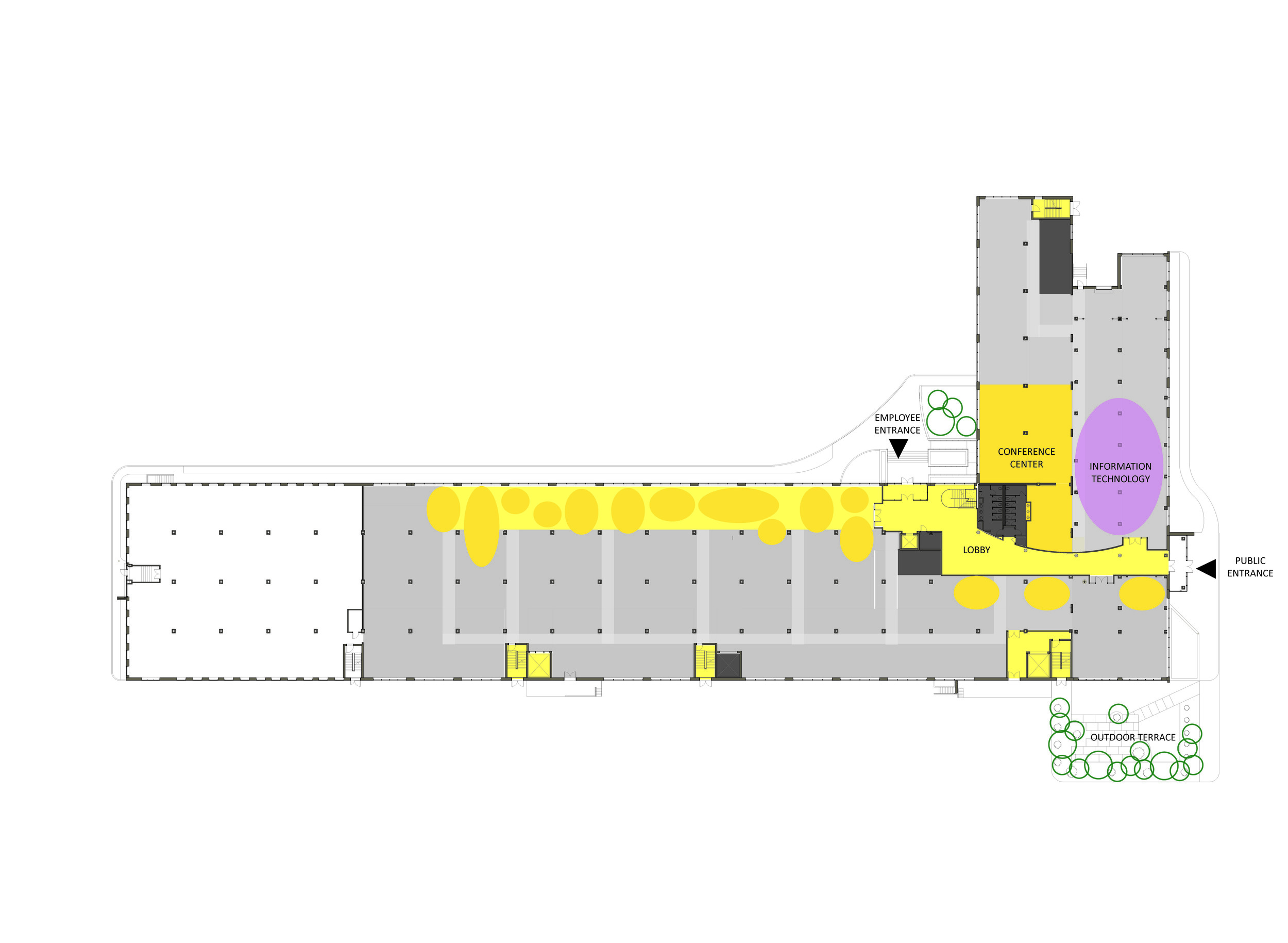 "Concept Plan of 1st Floor with ""Piazza"" Circulation"