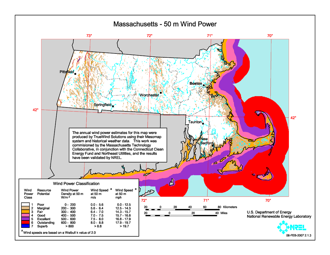 Massachusetts Wind Power Map