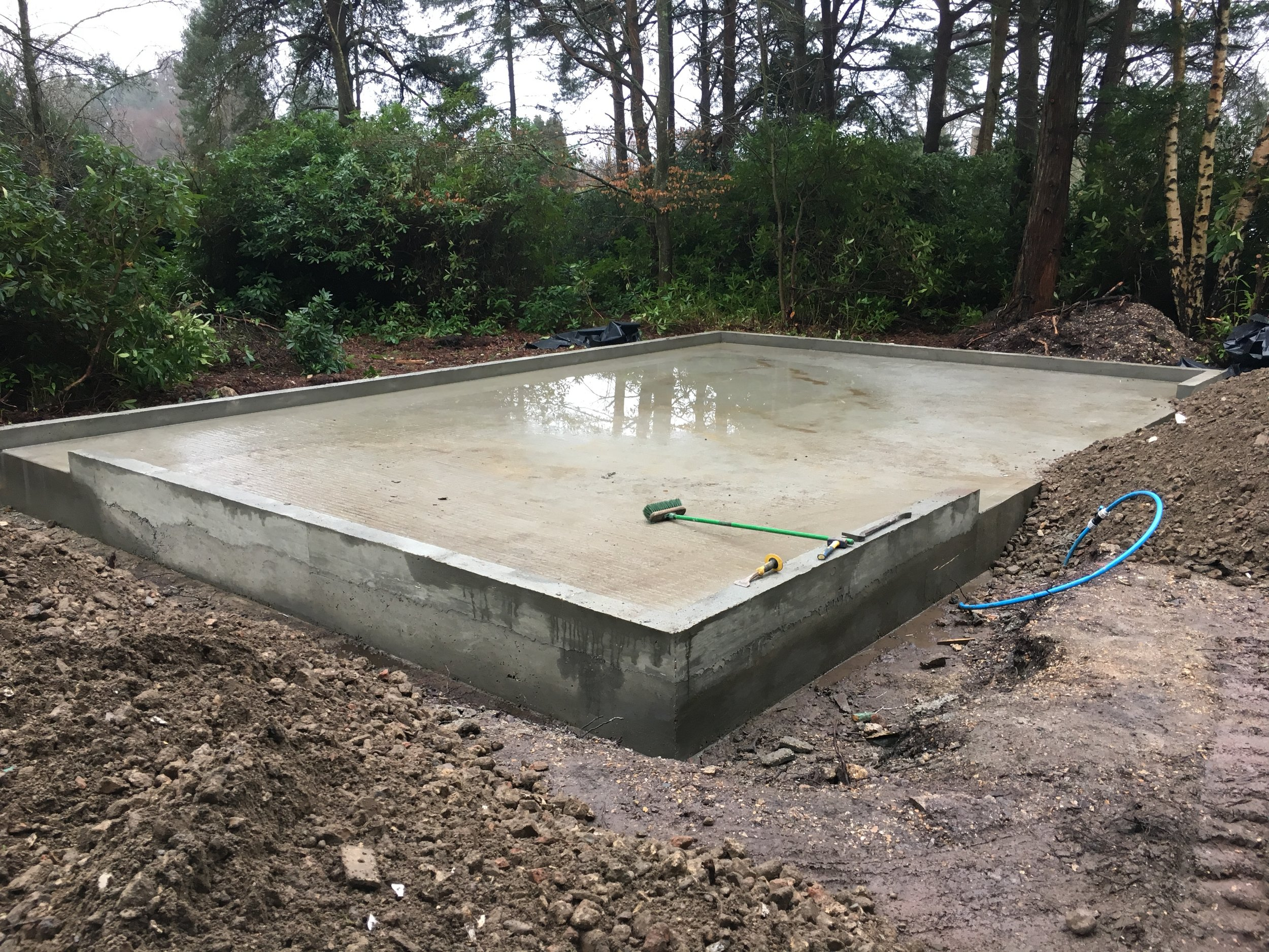 Garage slab ready for scaffold and timber frame.