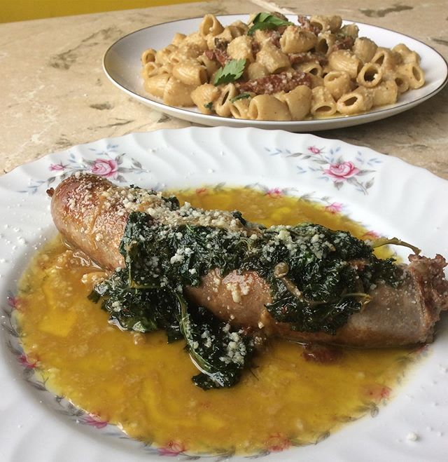 We're back with another round of weekend specials.  House made fennel sausage with sautéed onions, garlic, and braised kale with white wine sauce and locatelli.  Chillin' in the back we have house made rigatoni with sautéed mortadella in a curried mixed nut pesto.  Come on in and order up these specials while they last. Don't even think about it; don't even worry, just come on in, and leave with a belly full of Italian food, in your belly. #realfakedoors #rickandmorty #pittsburghitalian #pghitalian #harmonyitalian #pastapasta #bestpastaintown #handmadepasta #housemadepasta #food52grams #onmytable #whatsfordinner #dellaterra #localitalian #localpork  #getinmybelly #fullbelly