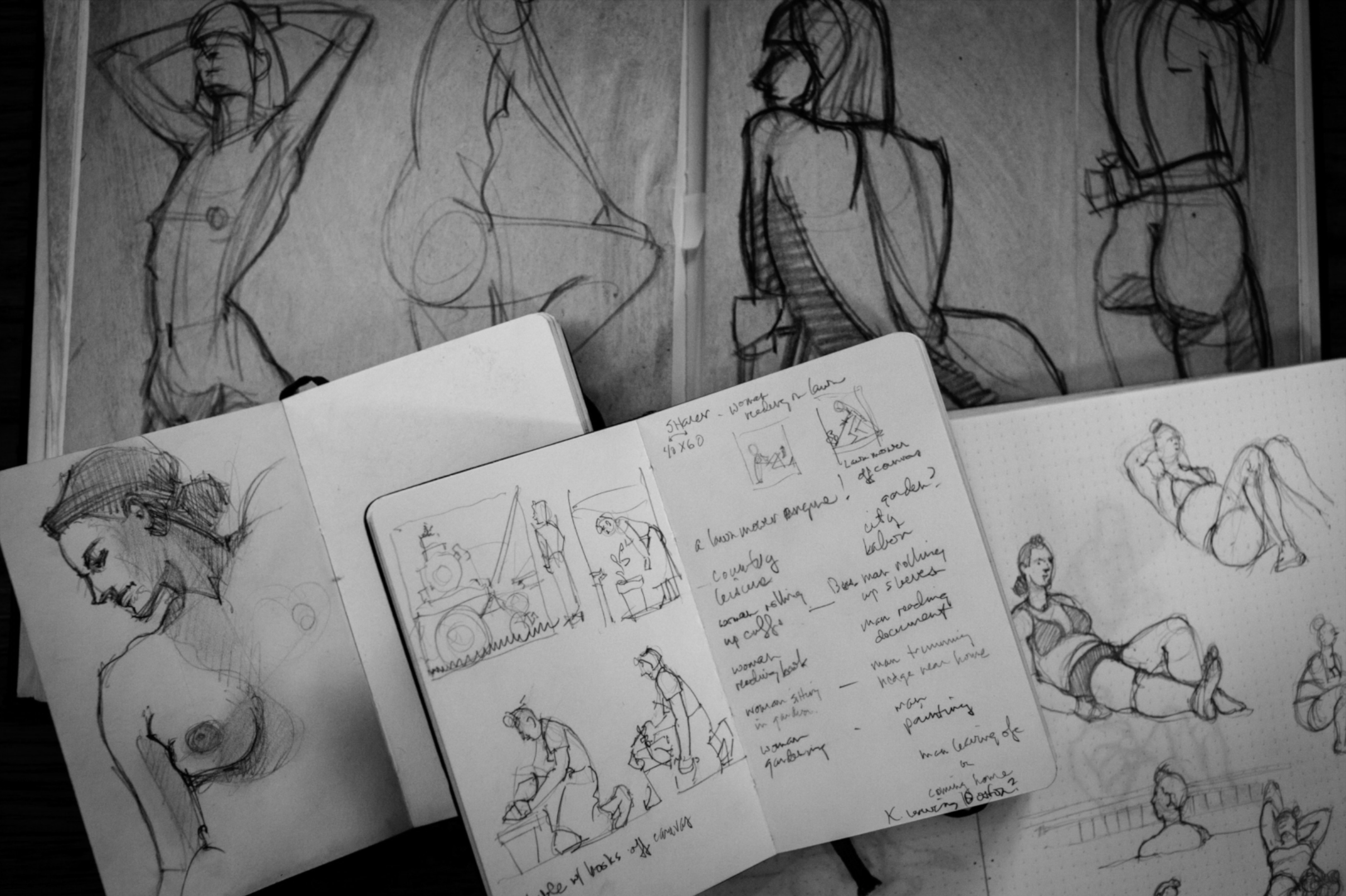 Kenton has so many books of sketches - he sketches all the time, even still takes drawing classes to continue to hone his skills and learn something new.