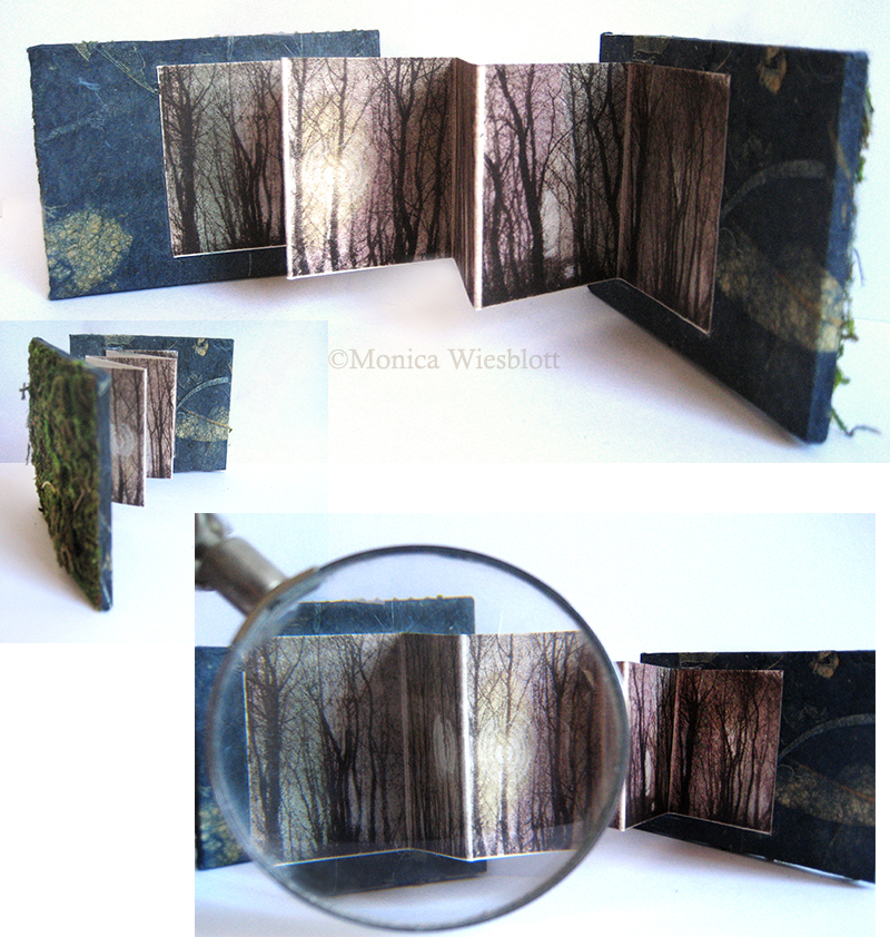"""  Something you no longer have  ""- miniature artist book 2.25 x 3 inches- Photopolymer etching, preserved moss, washi paper"