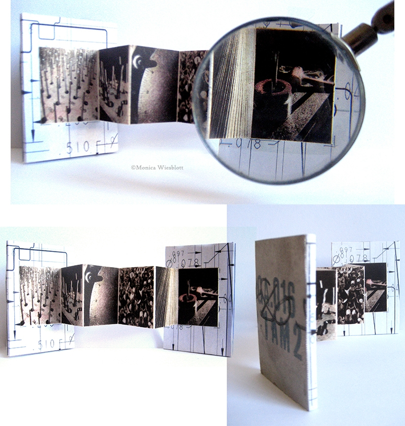 """Conversations in mathematics""  miniature artist book 3.25 x 2.25 inches- titanium, blueprints, photopolymer etching, machine oil"