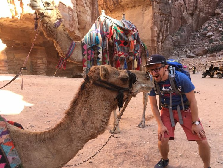 Trolling a camel in front of the Treasury of Petra | Jordan