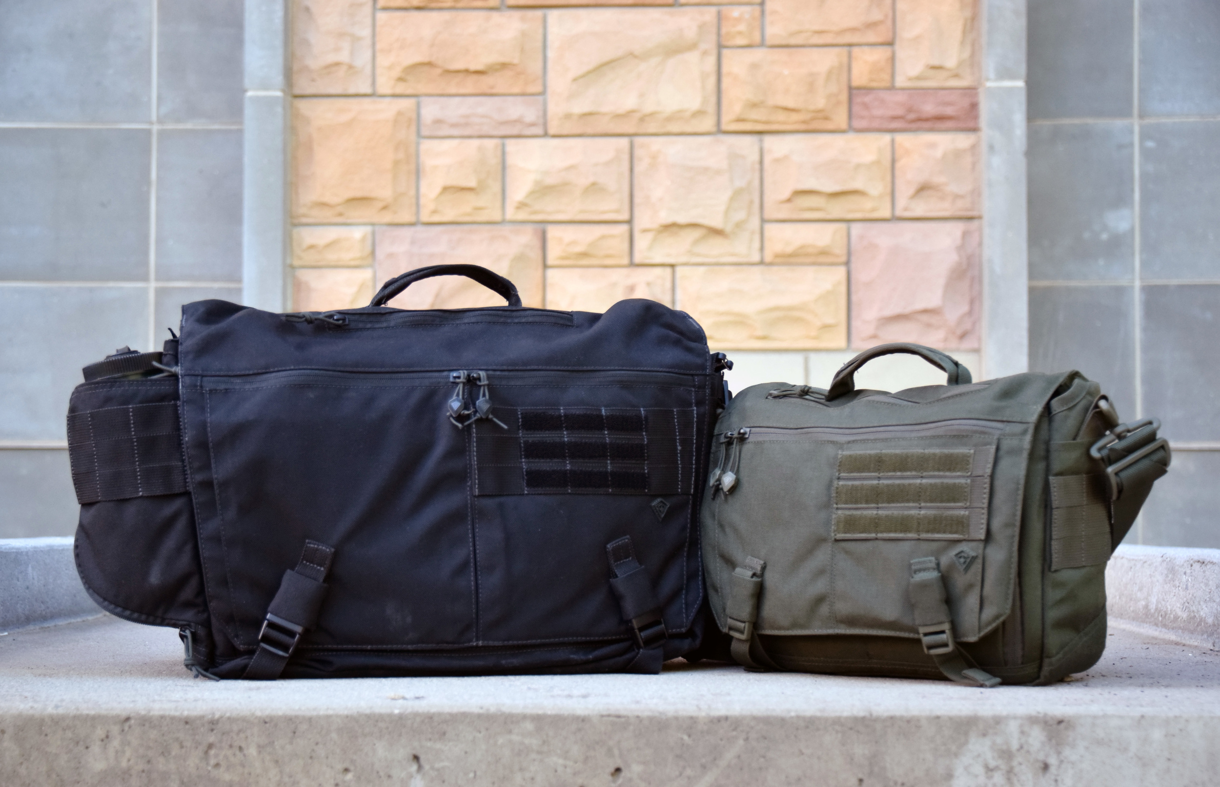 Two of a kind: The First Tactical Ascend Messenger Bag (Left) and the First Tactical Summit Side Satchel (Right).
