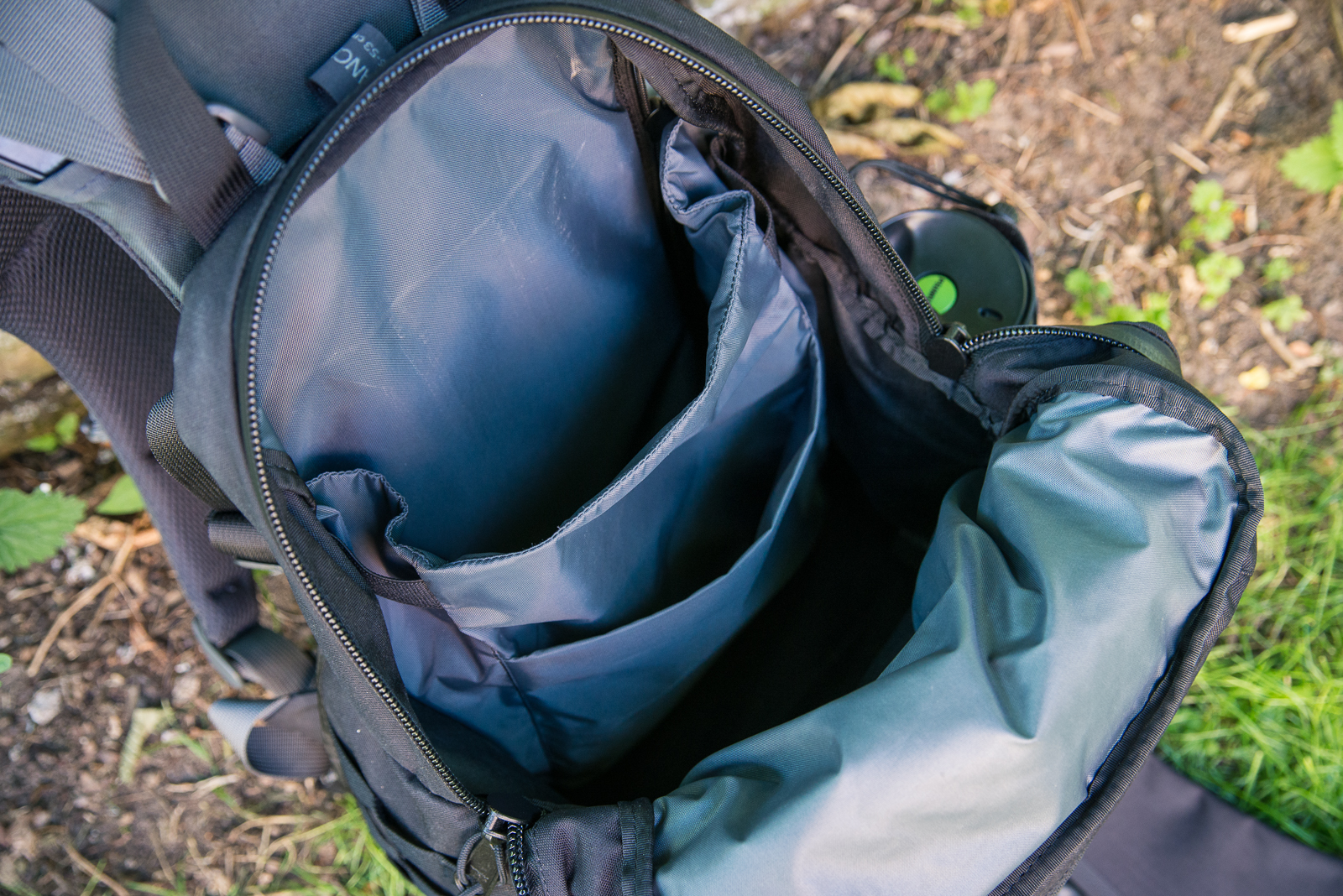 """The laptop and tablet sleeves at the rear of the pack. A 15"""" MBP is no problem here."""