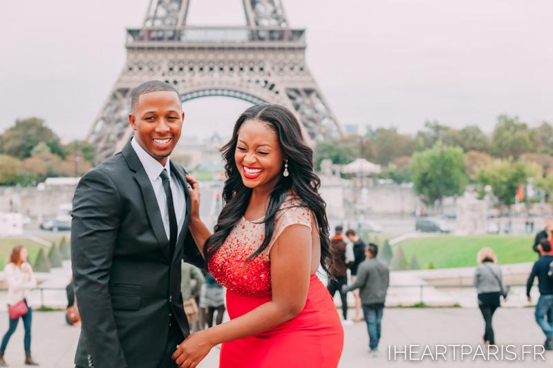 Couple Eiffel Tower Trocadero I heart Paris Red Dress