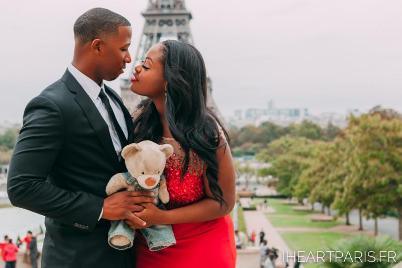 Couple Eiffel Tower Trocadero I heart Paris Teddy