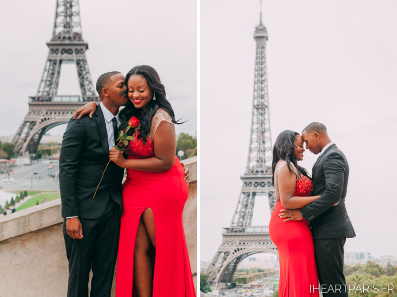 Couple Eiffel Tower Trocadero I heart Paris