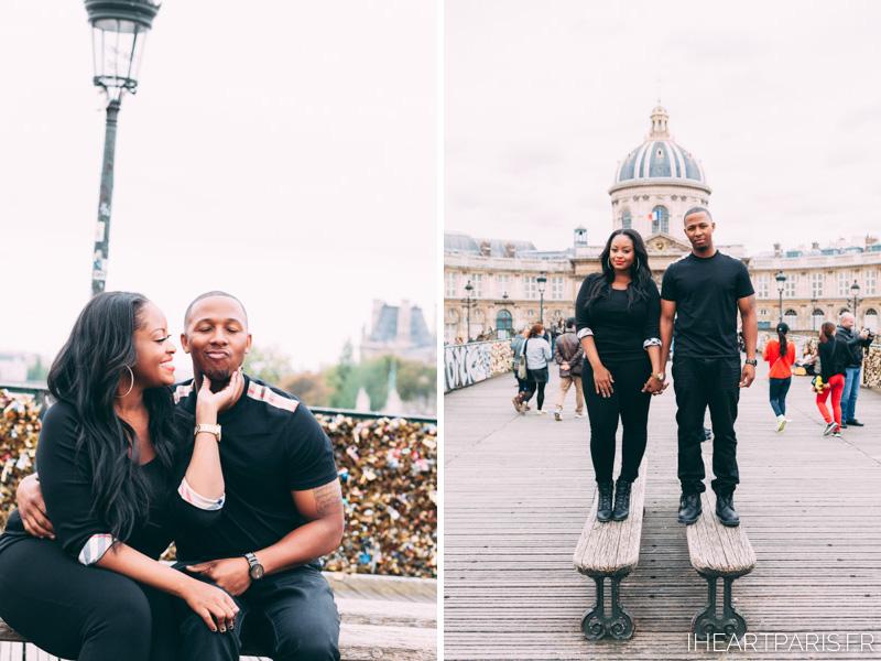 Couple Love Lock Bridge I heart Paris