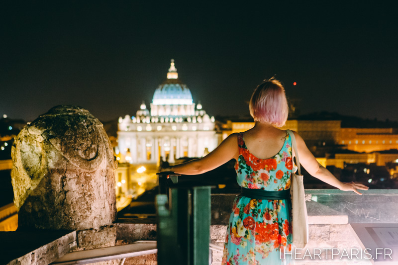 Top of Castel Santangelo view of Vatican Night Summer Rome IheartParis