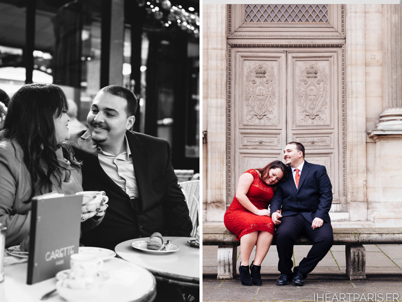 Engagement Photoshoot Paris Cafe Louvre IheartParisfr