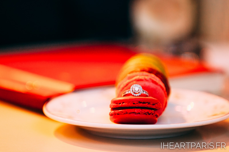 Paris Photographer Engagement Ring Macarons IheartParisfr