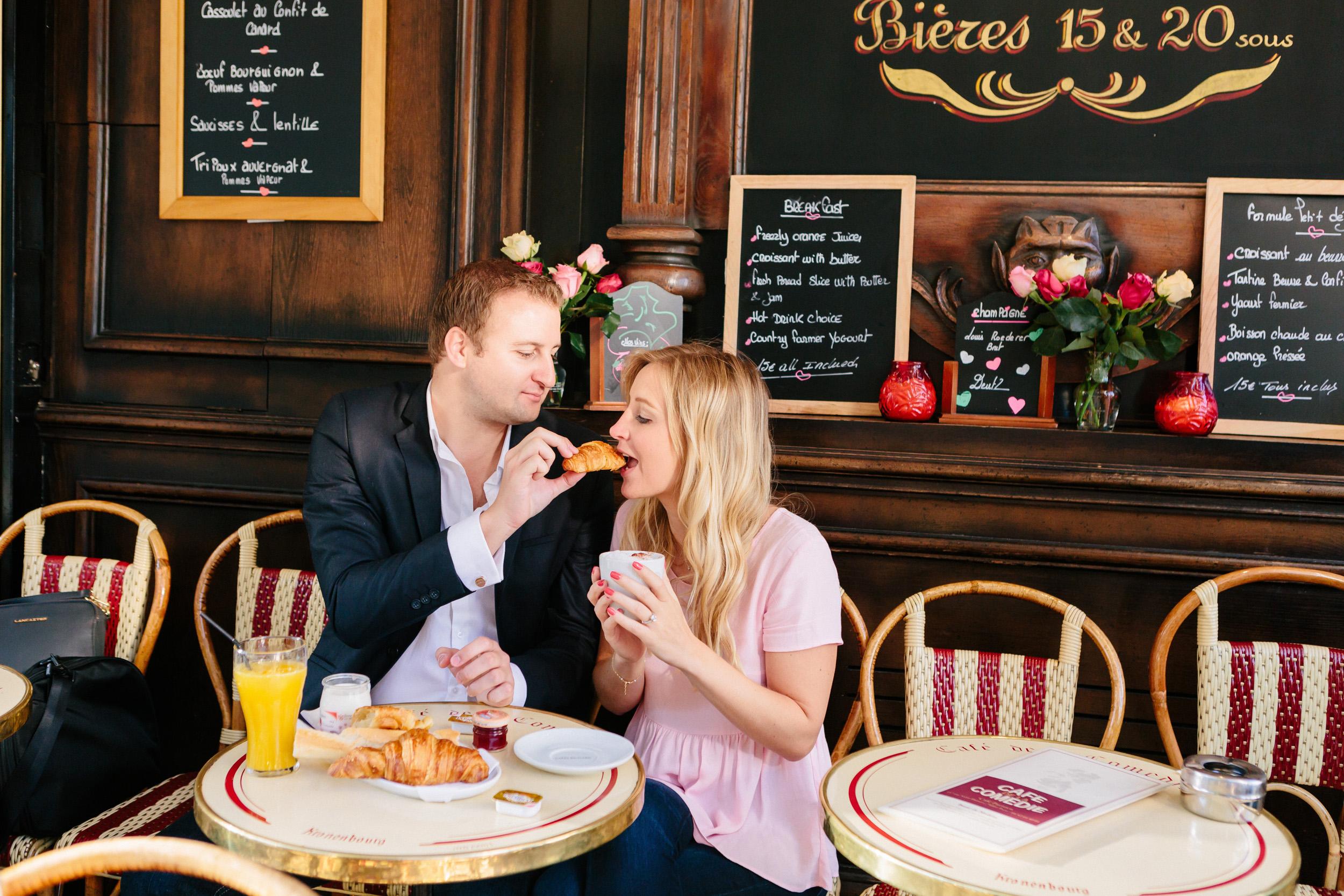 Paris photographer engagement ring café croissant