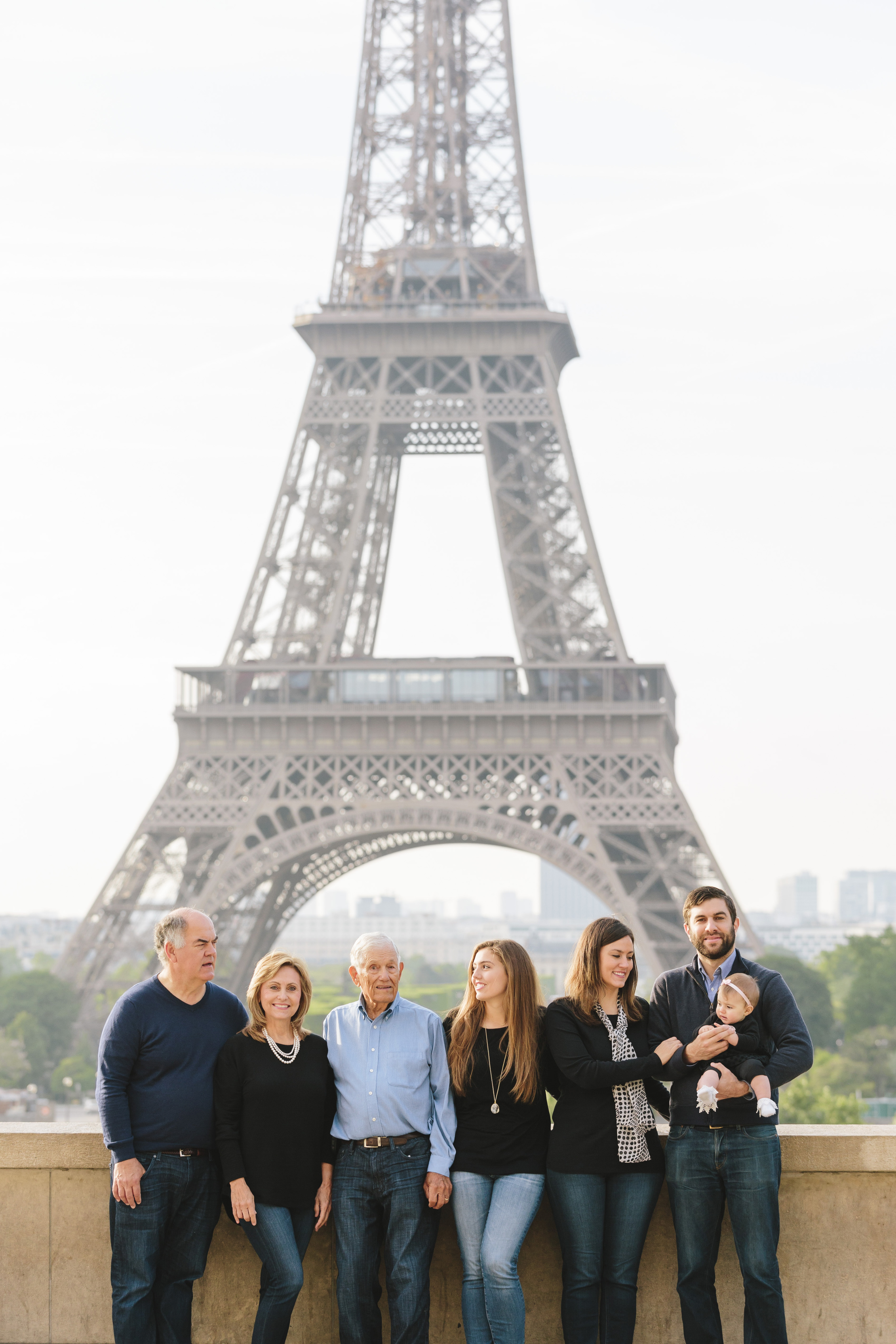 paris photographer three generations of one family in portrait at trocadero by eiffel tower