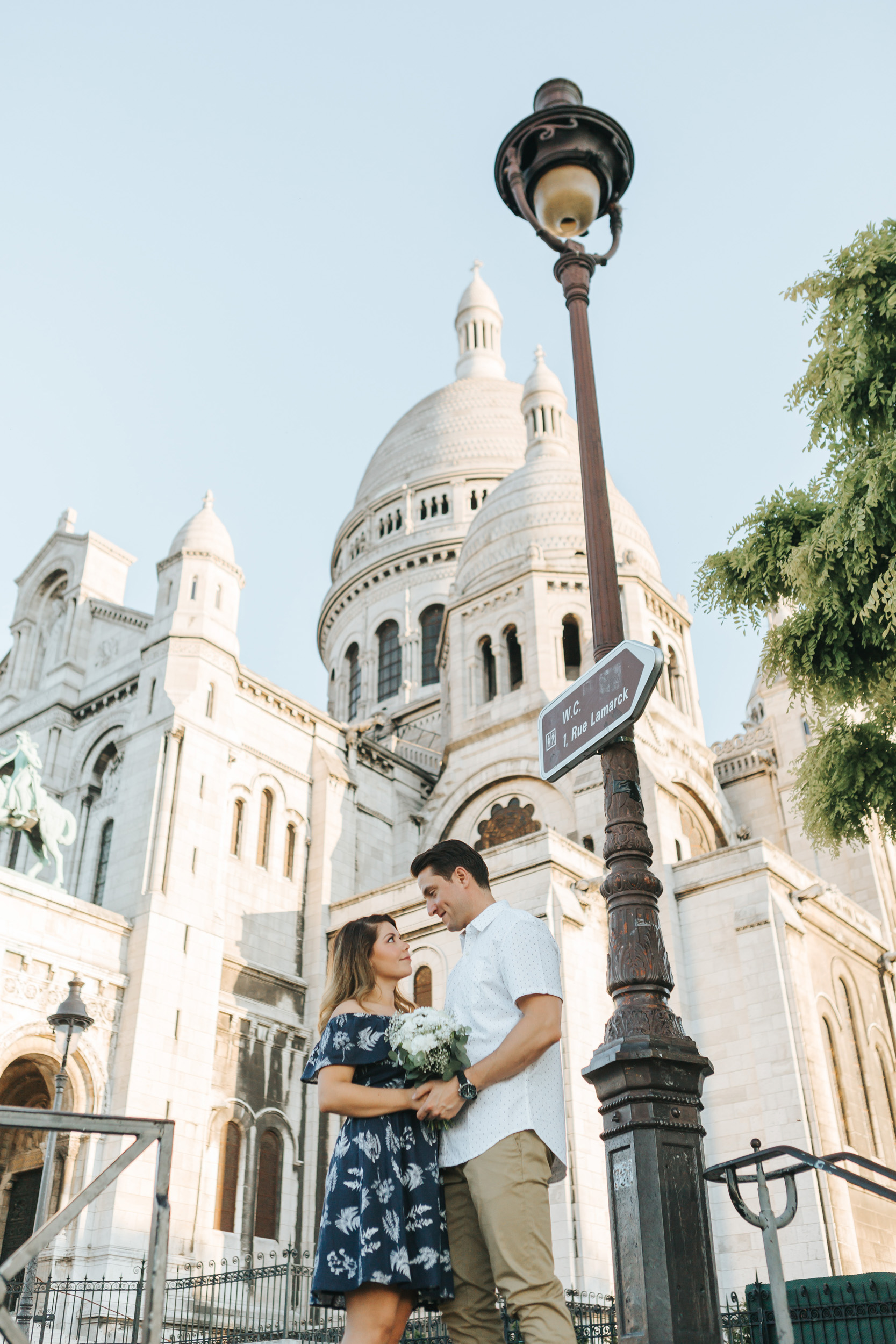 Paris Photographer  Love Story Montmartre Sunrise Flowers Anniversary Couple Session Sacre Coeur