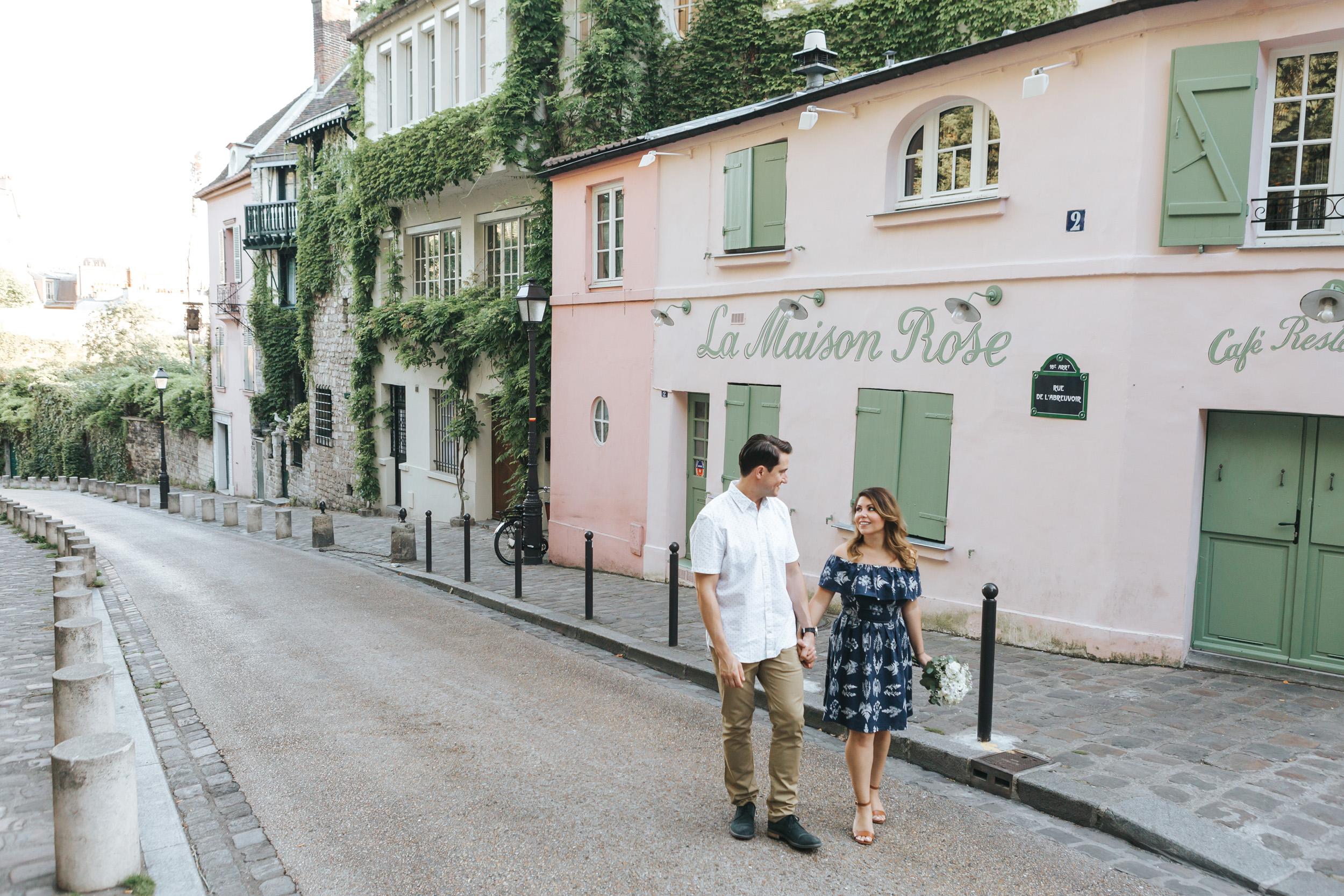 Photographer in Paris  Love Story Montmartre Sunrise Flowers Anniversary Couple Session La Maison Rose