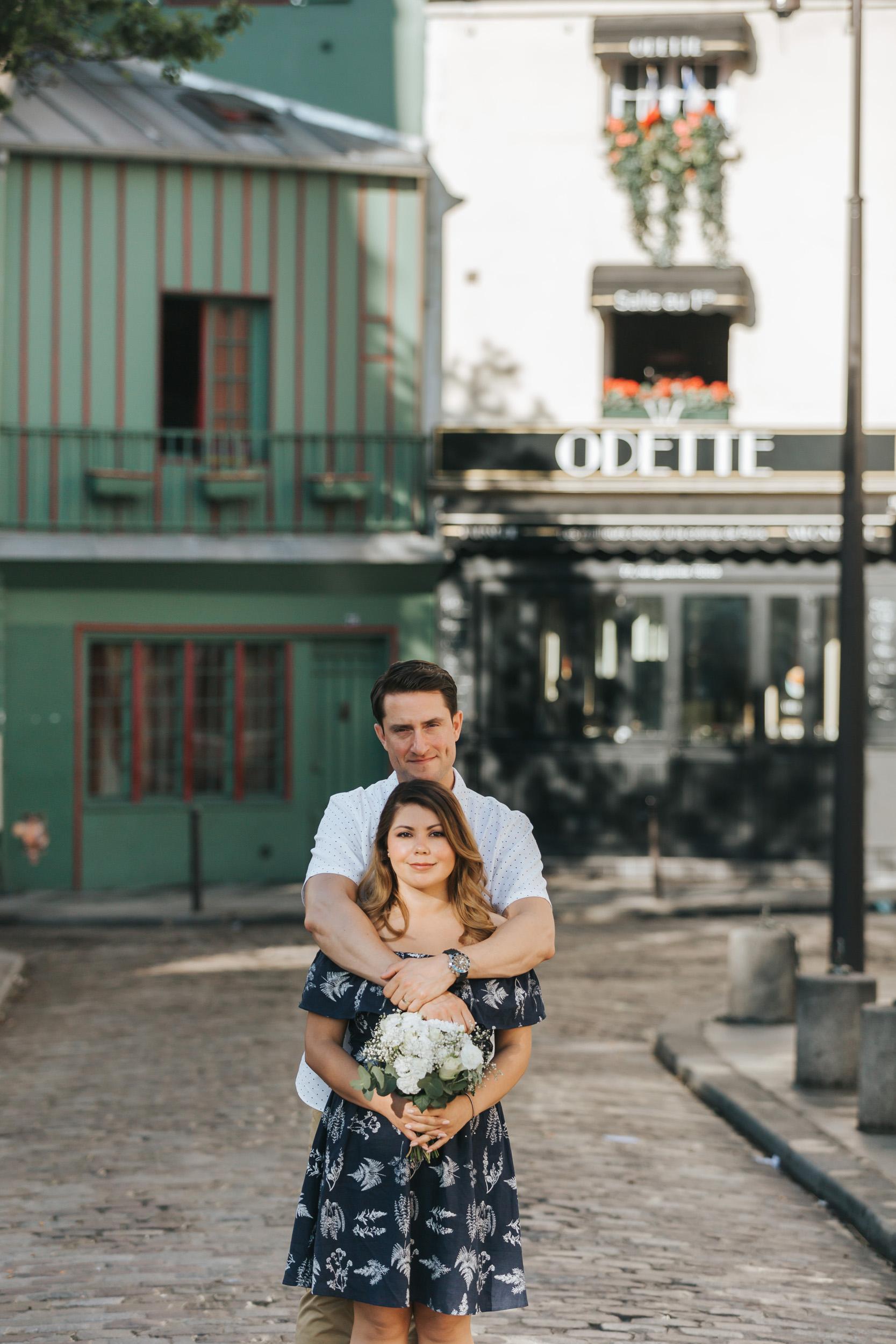 Paris Photographer   Couple Session  Love Story Notre Dame Sunrise Flowers Anniversary
