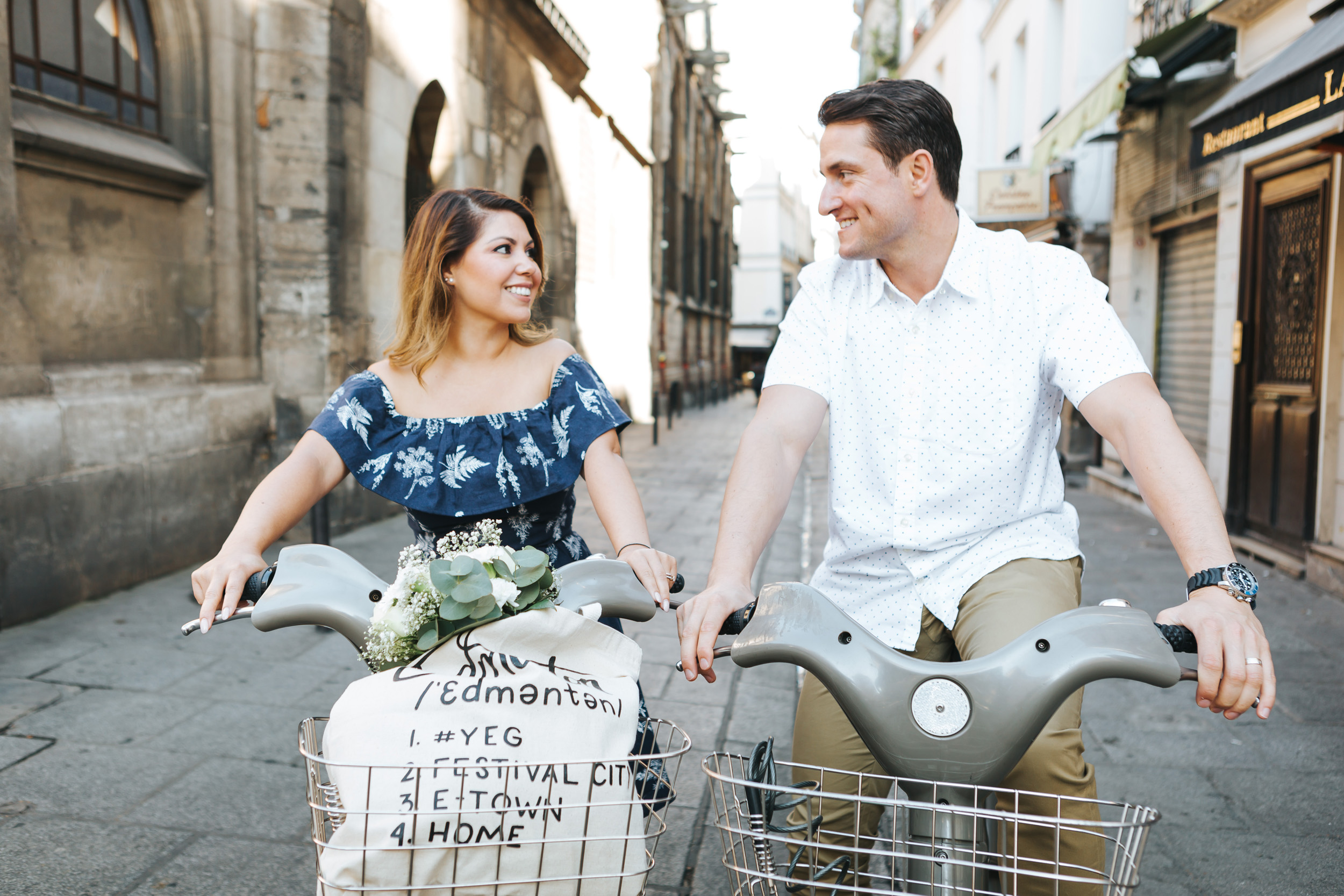 Paris Photographer   Couple Session   Love Story Sunrise Flowers Anniversary Velib bicycle