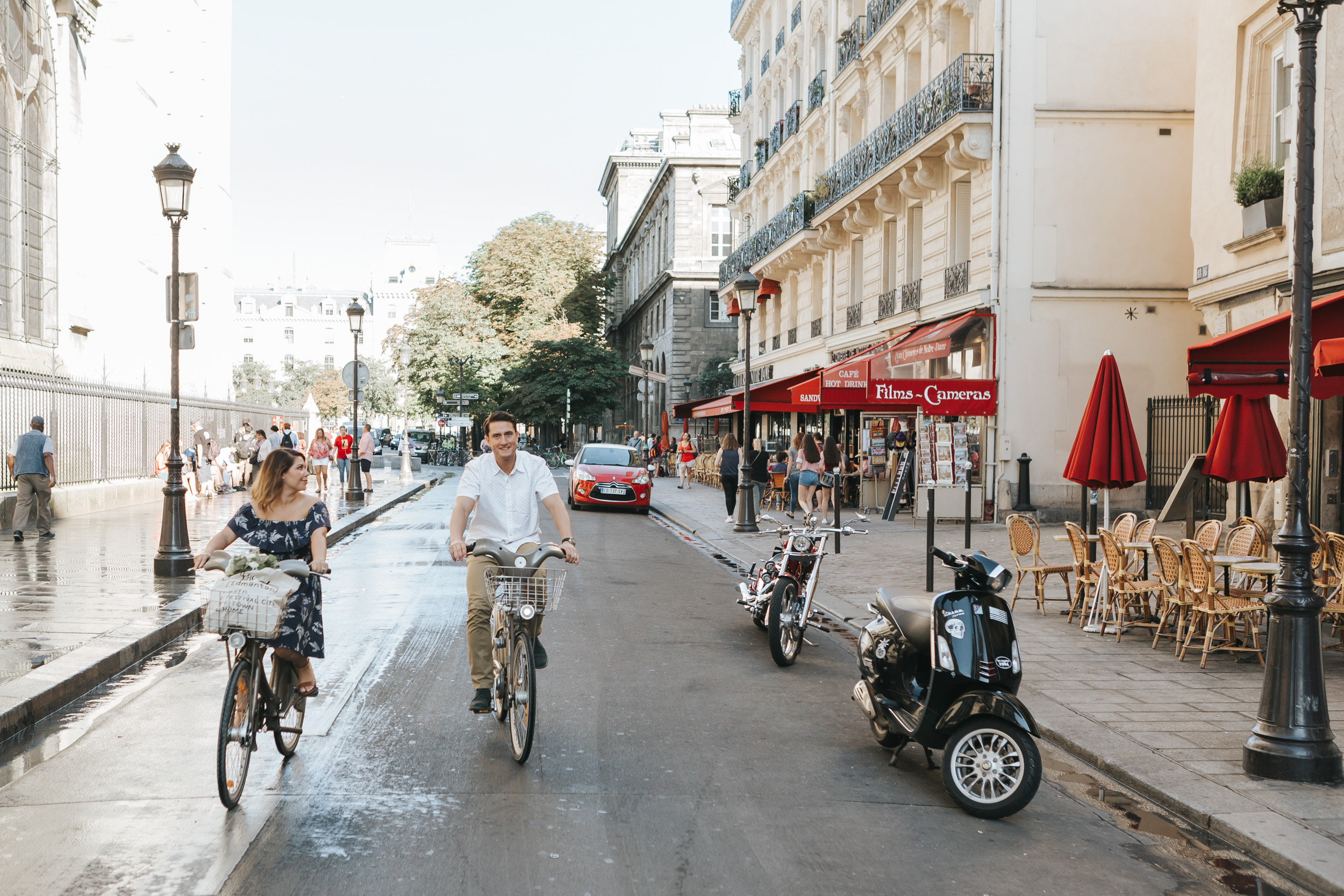 Photographer in Paris   Couple Session   Love Story Notre Dame Sunrise Flowers Anniversary Velib bicycle