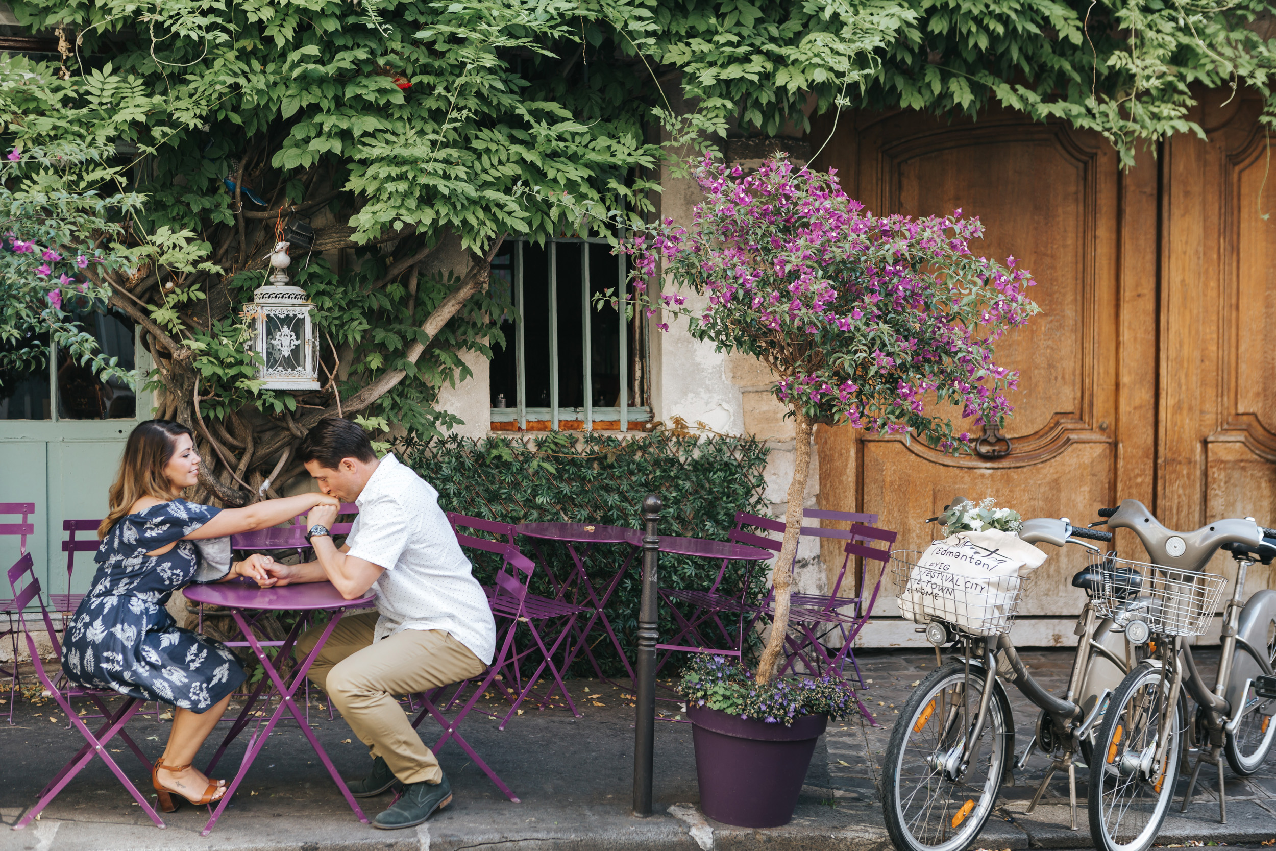 Paris Photographer   Couple Session  Love Story Parisian Cafe Sunrise Flowers Anniversary Velib bicycle