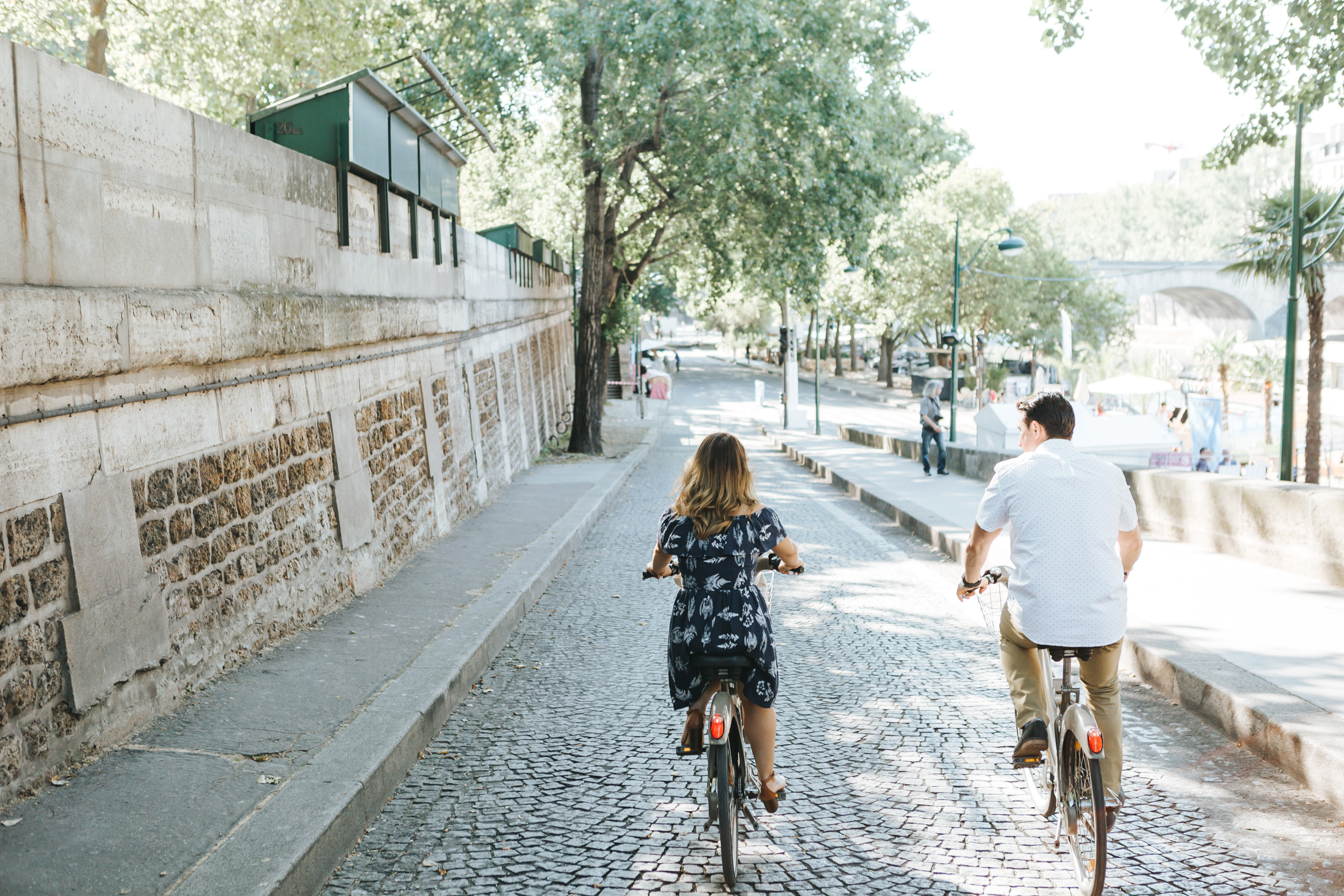 Paris Photographer   Couple Session  Love Story Quai Seine Anniversary Velib bicycle