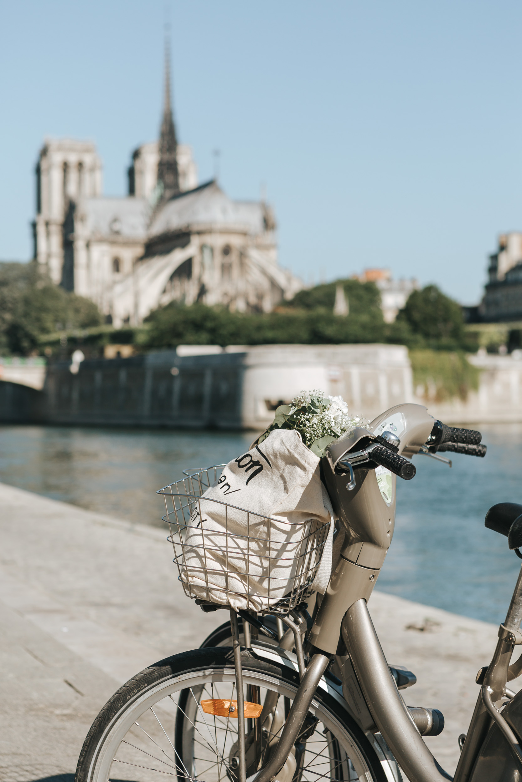 Photographer in Paris  Quai Seine Velib bicycle Notre Dame
