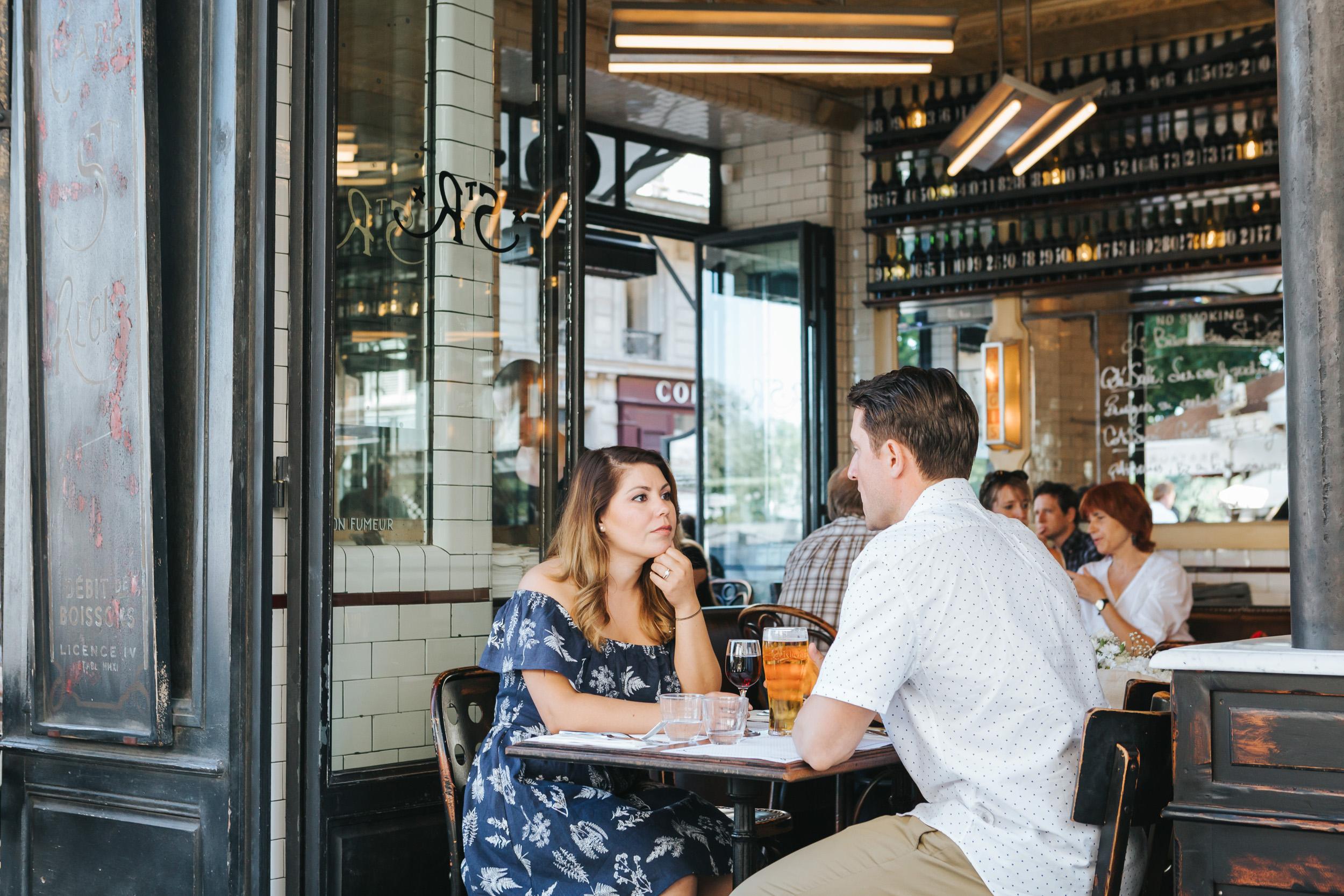 Photographer in Paris   Couple Session  Love Story Saint Regis Parisian Cafe Anniversary