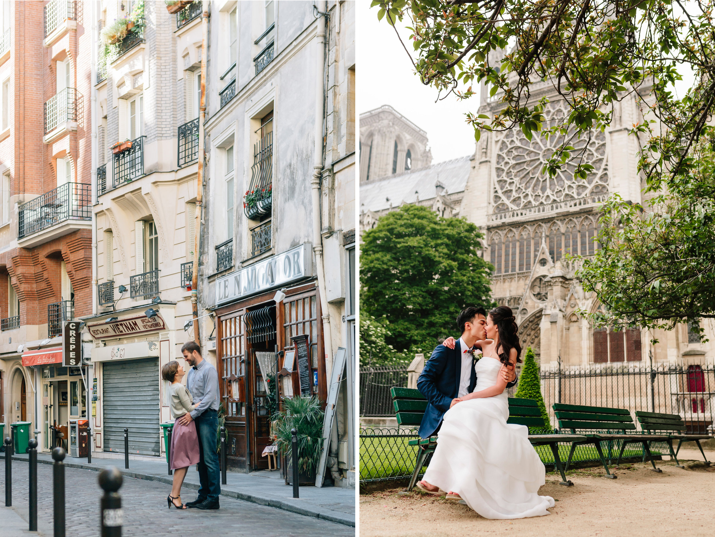 paris photographer pre-wedding and engagement couple sessions diptych by notre dame and in saint germain