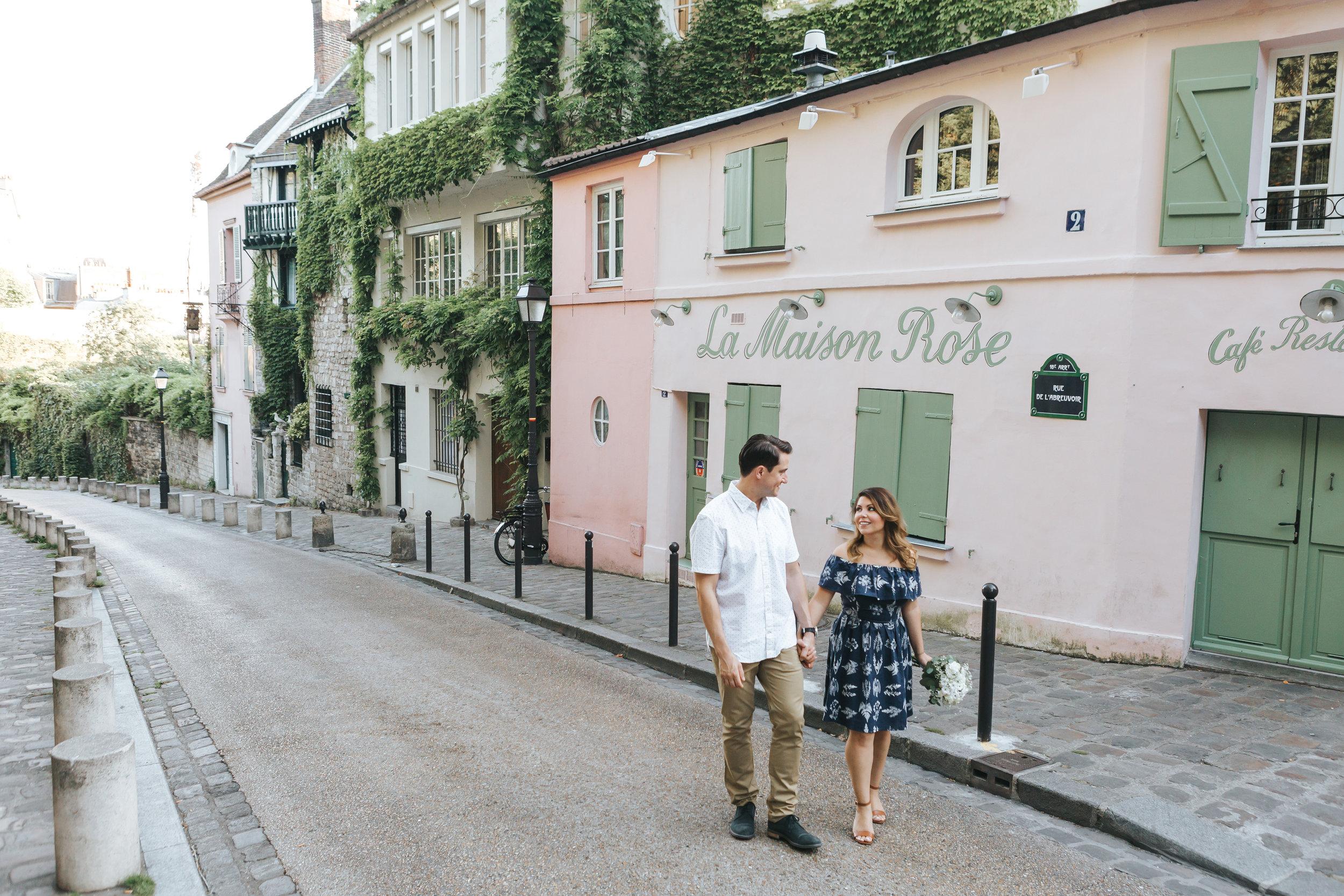 paris photographer anniversary couple session by la maison rose in montmartre