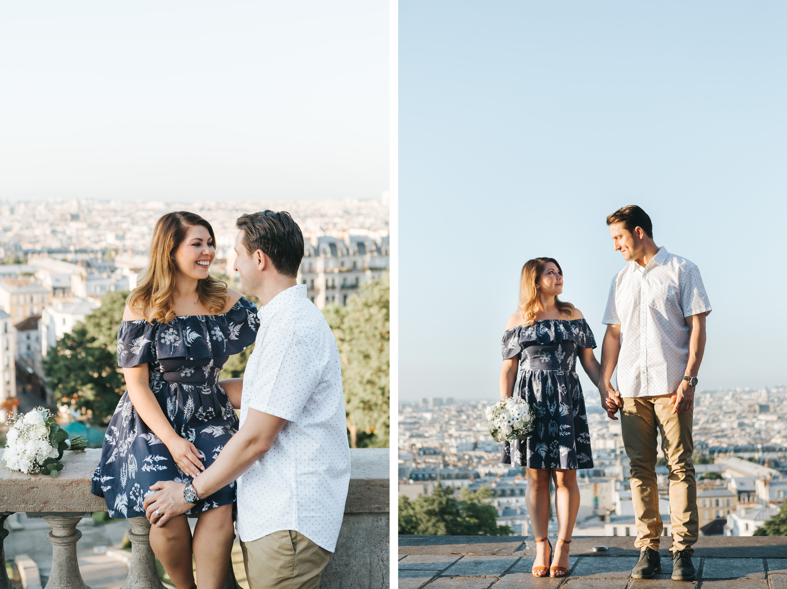 paris photographer anniversary couple portraits diptych in montmartre