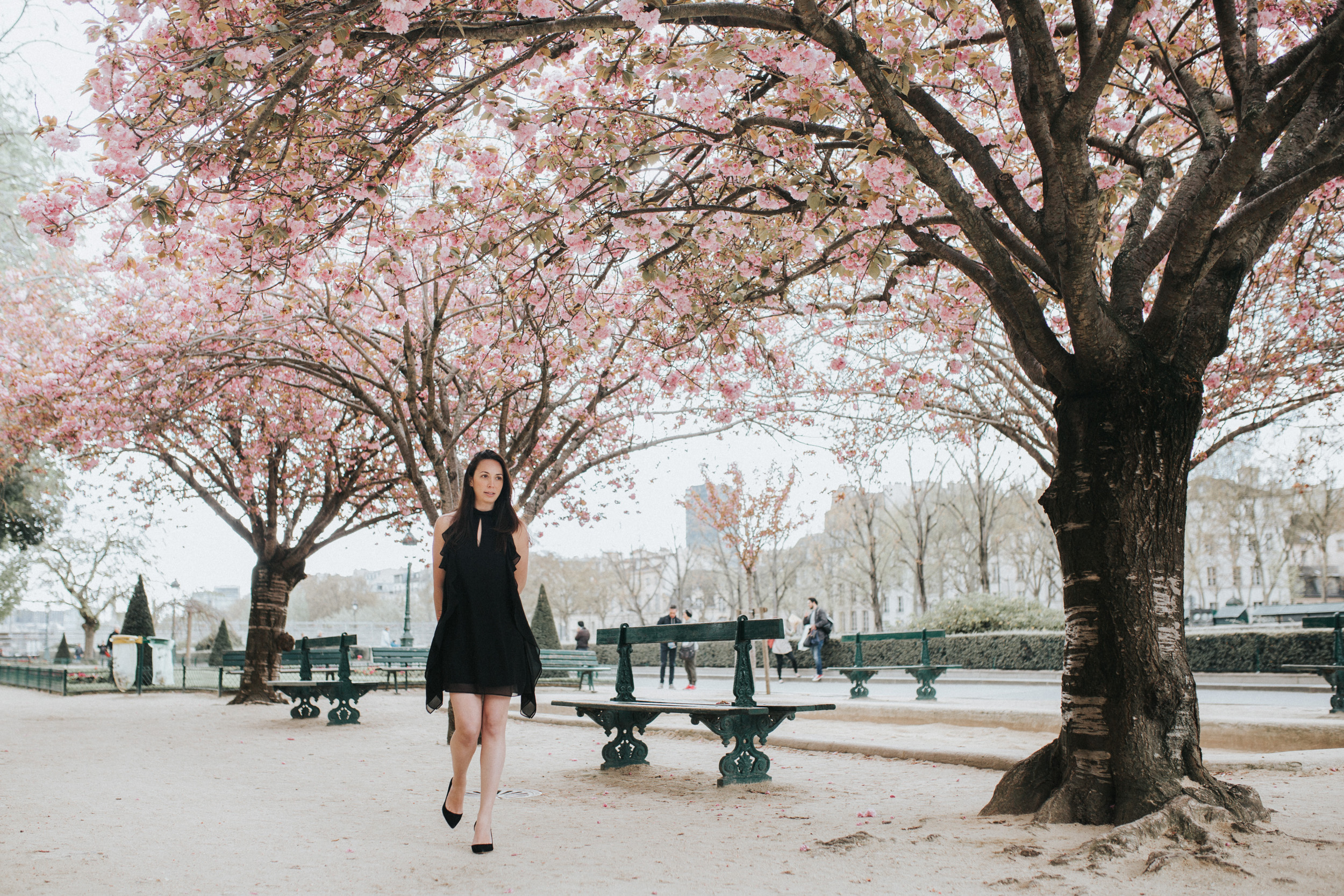 Spring portrait of Rebecca Plotnick founder of Every Day Parisian blog in front of cherry blossom trees captured by Paris Photographer Federico and Anastasia Guendel IheartParisFr TheFlyingPoodle