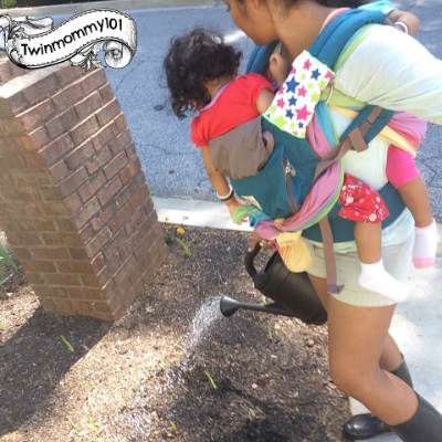 Talking about how plants grow AND getting my flowers watered at the same time (20 months)